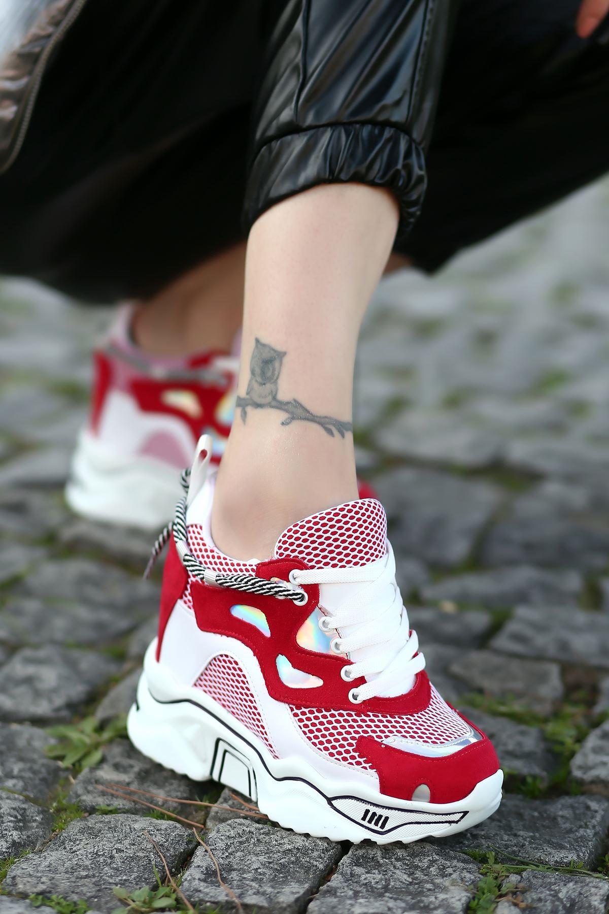 Chelsea File Detaylı Hologramlı Yüksek Topuklu Kırmızı Kadın Spor Ayakkabı