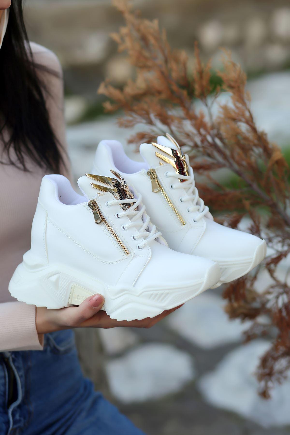 Eagle Mat Deri Toka Detay Gizli Topuk Spor Ayakkabı Beyaz