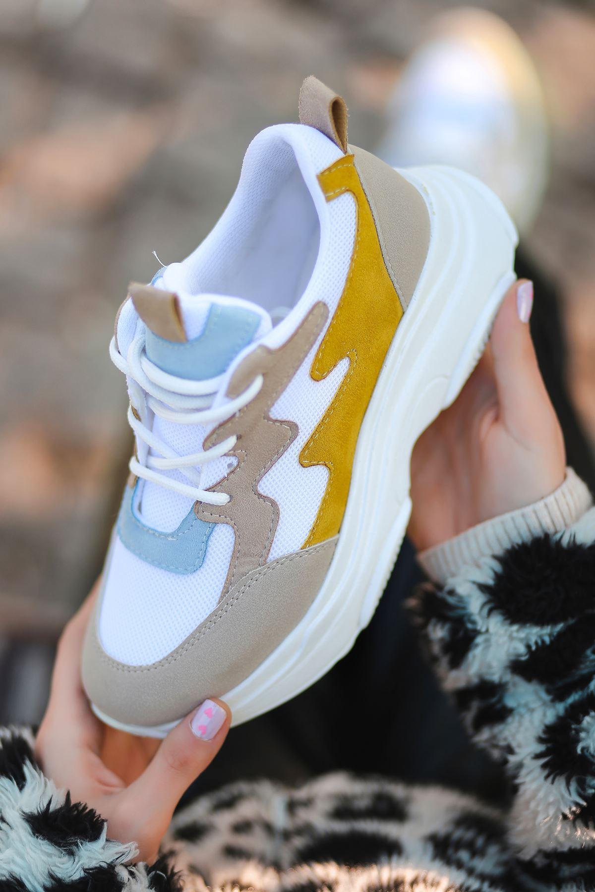 Amaya Bağcık Detaylı Beyaz Krem Hardal Parçalı Fileli Beyaz Kadın Spor Ayakkabı