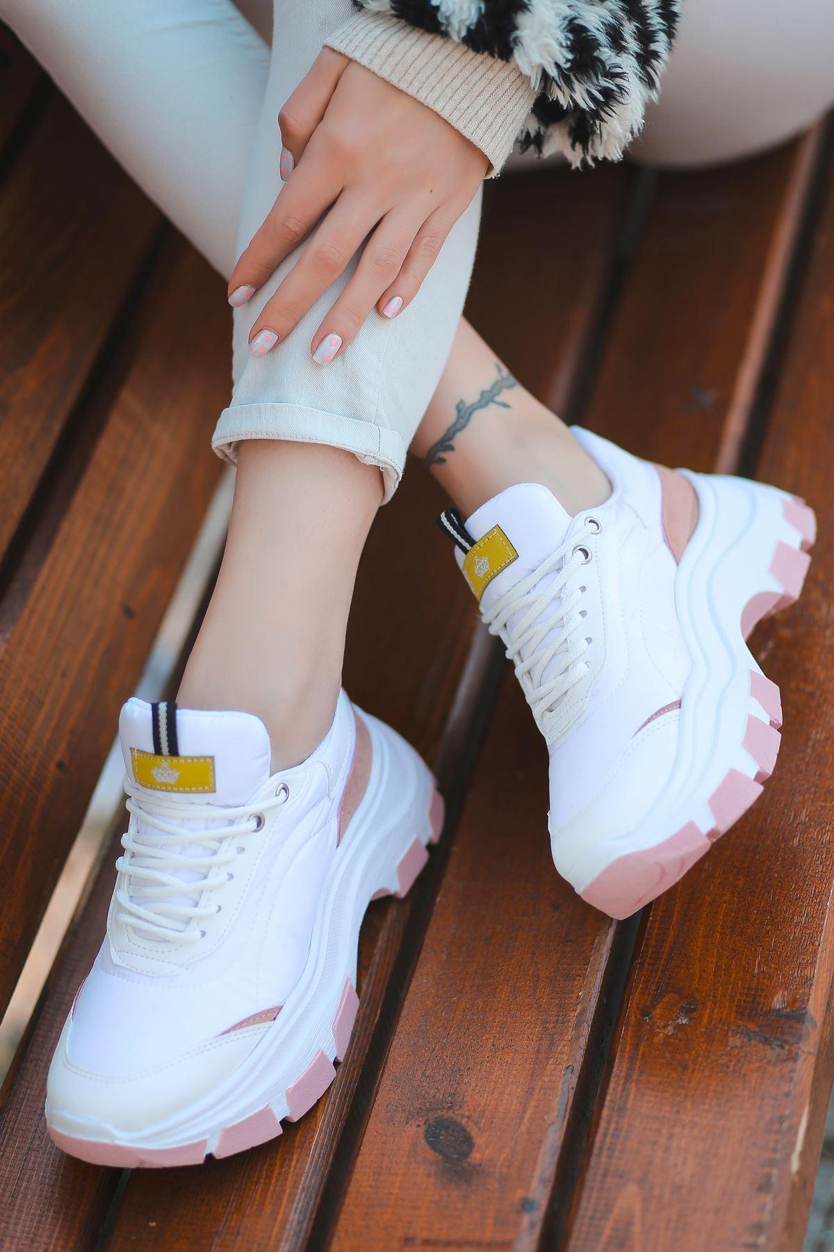 Aberto Bağcık Detaylı Pudra Parçalı Beyaz Paraşüt Kadın Spor Ayakkabı