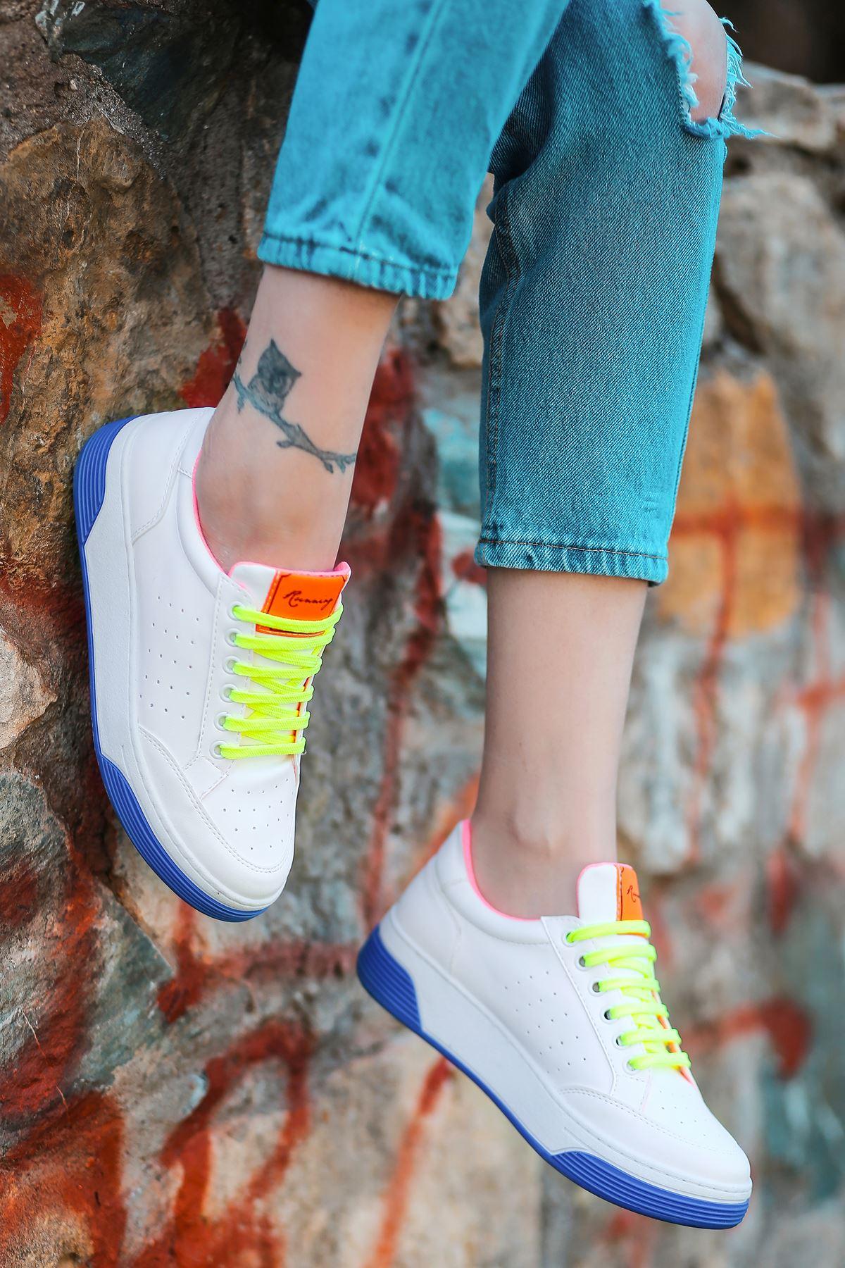 Fuzzy Mat Deri Mavi Taban Bağcık Detay Sneakers
