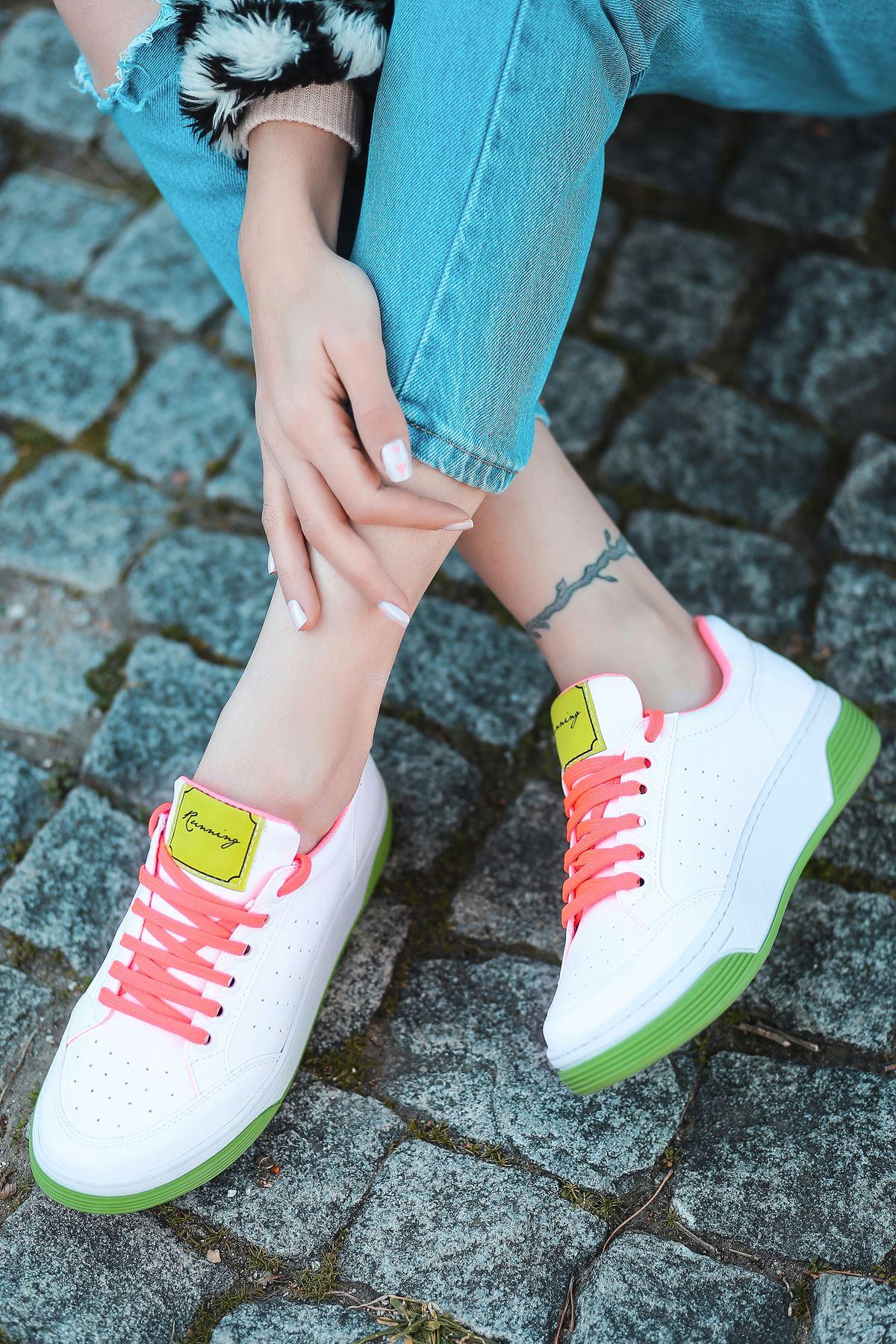 Fuzzy Mat Deri Yeşil Taban Bağcık Detay Sneakers