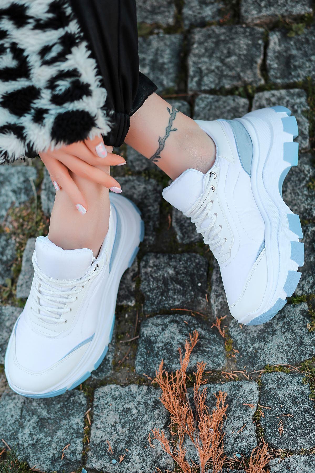 Aberto Bağcık Detaylı Bebek Mavi Parçalı Beyaz Paraşüt Kadın Spor Ayakkabı