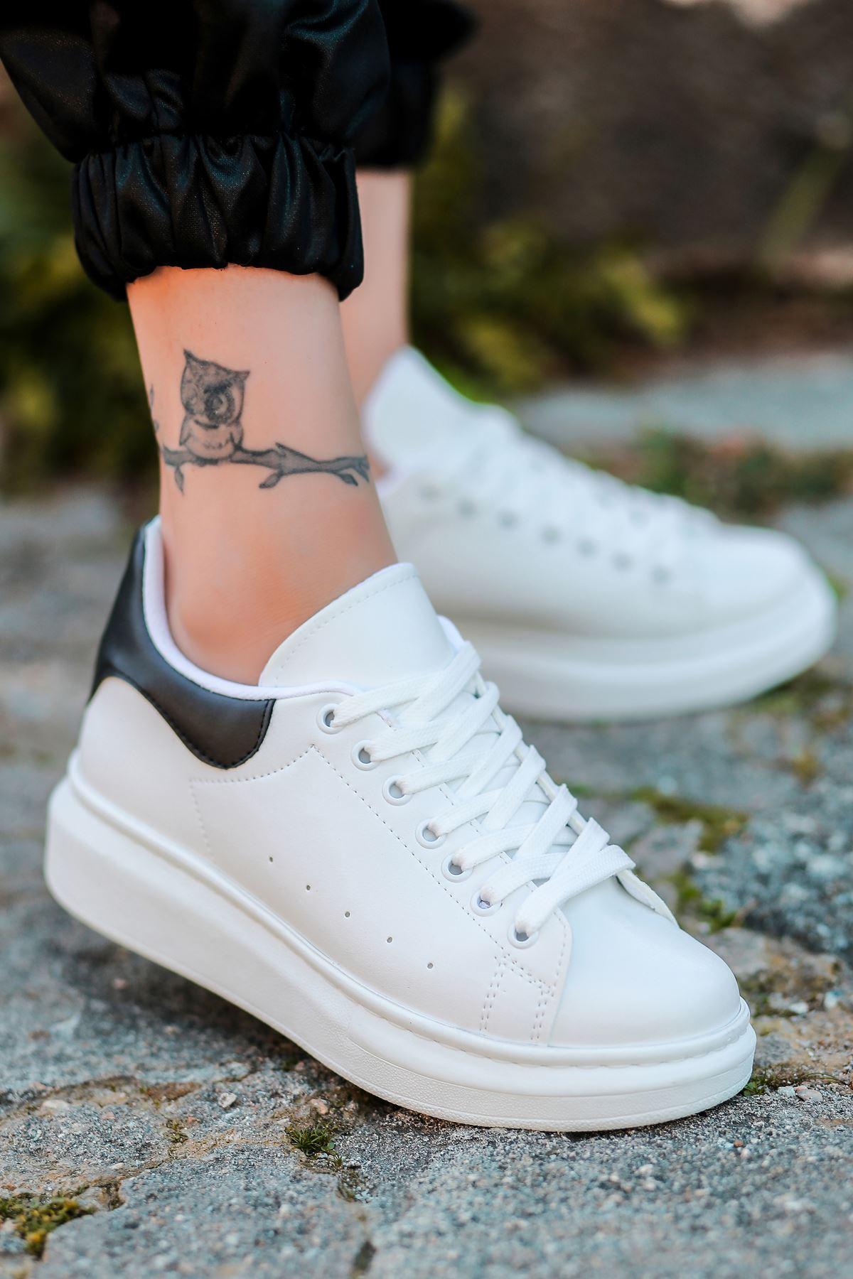 Lucy Mat Deri Siyah Cilt Detay Sneakers Beyaz