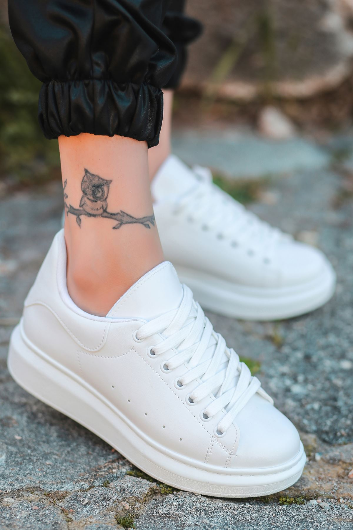 Lucy Mat Deri Bağcık Detay Sneakers Beyaz