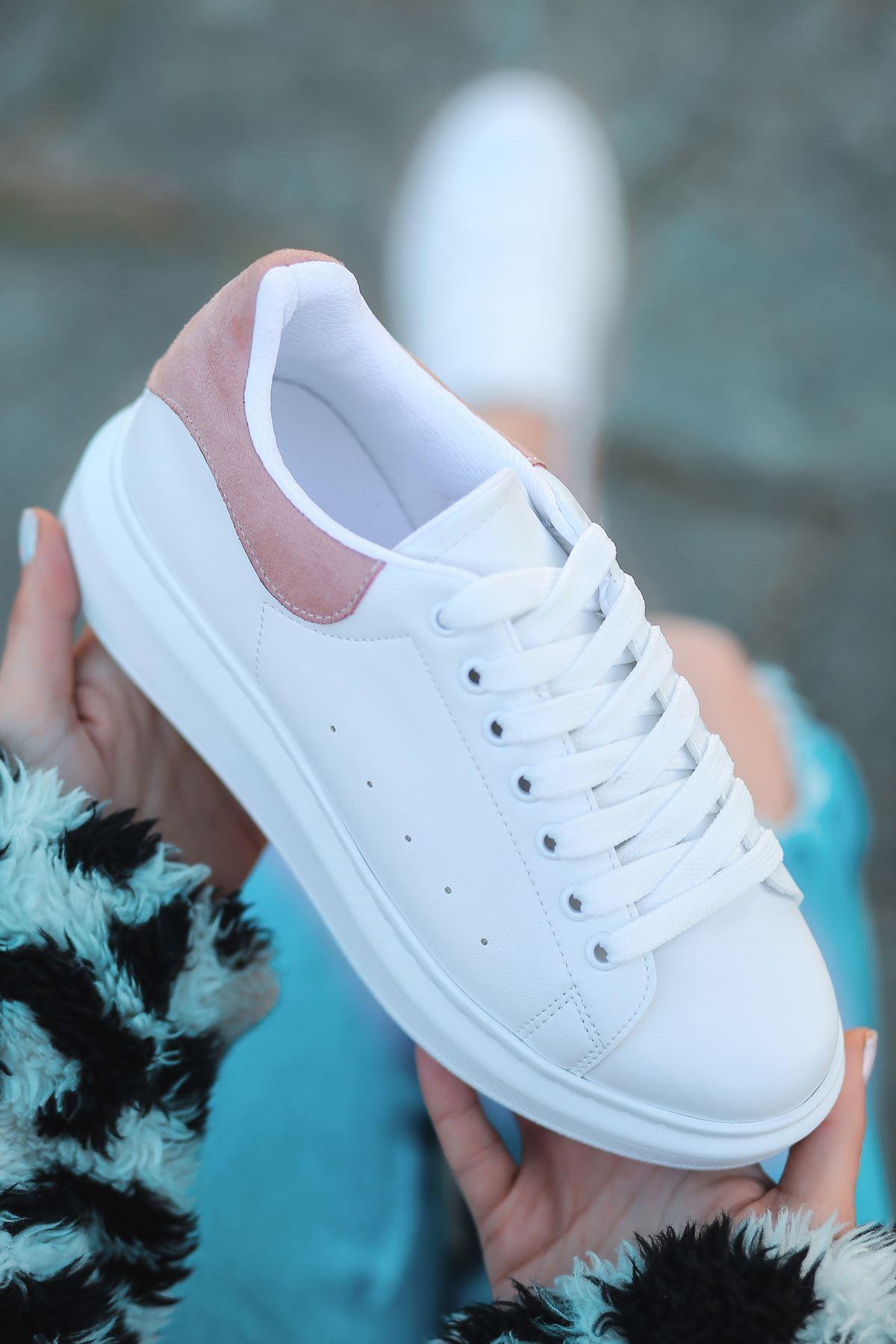 Lucy Mat Deri Pudra Süet Detay Sneakers Beyaz