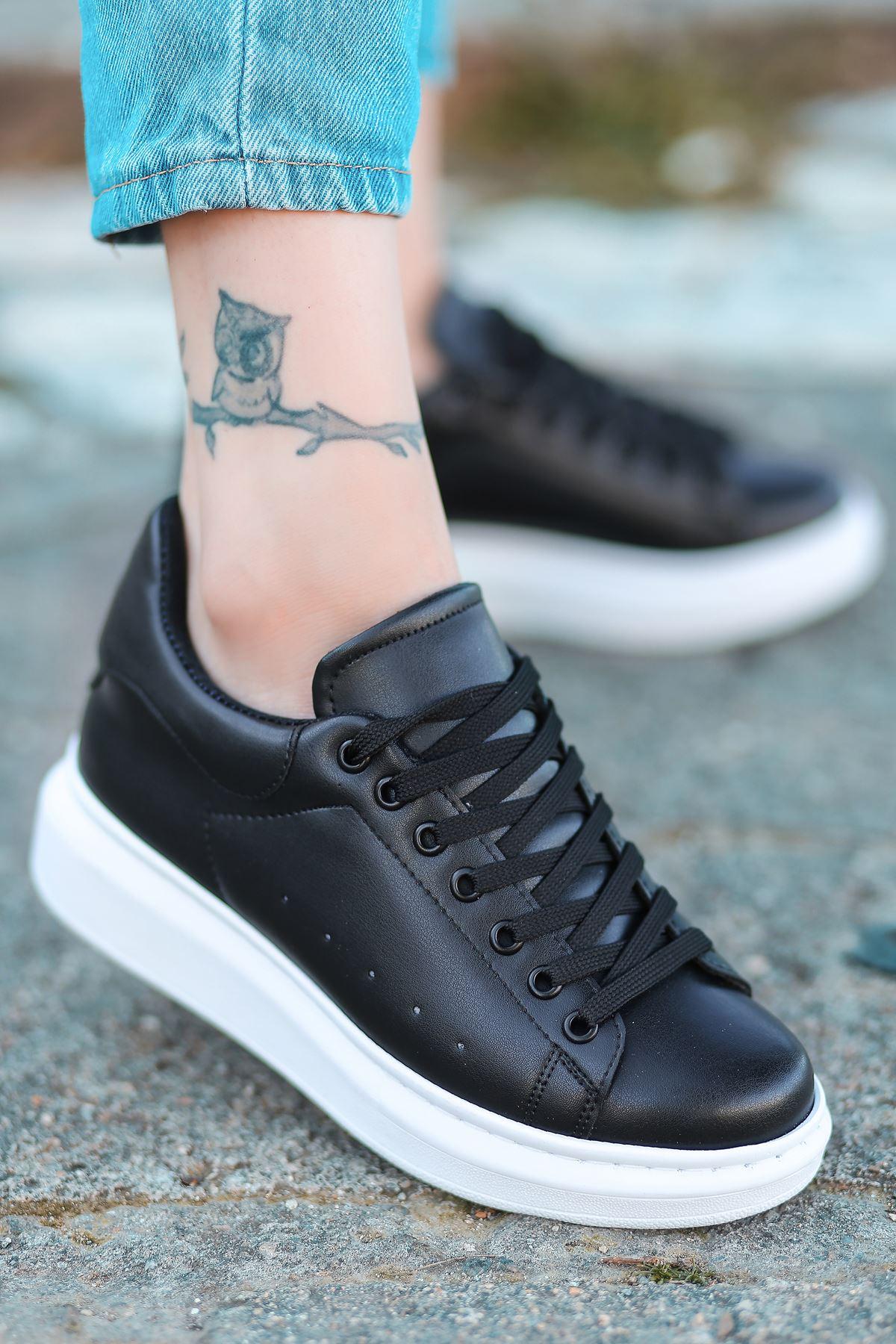 Lucy Mat Deri Bağcık Detay Sneakers Siyah