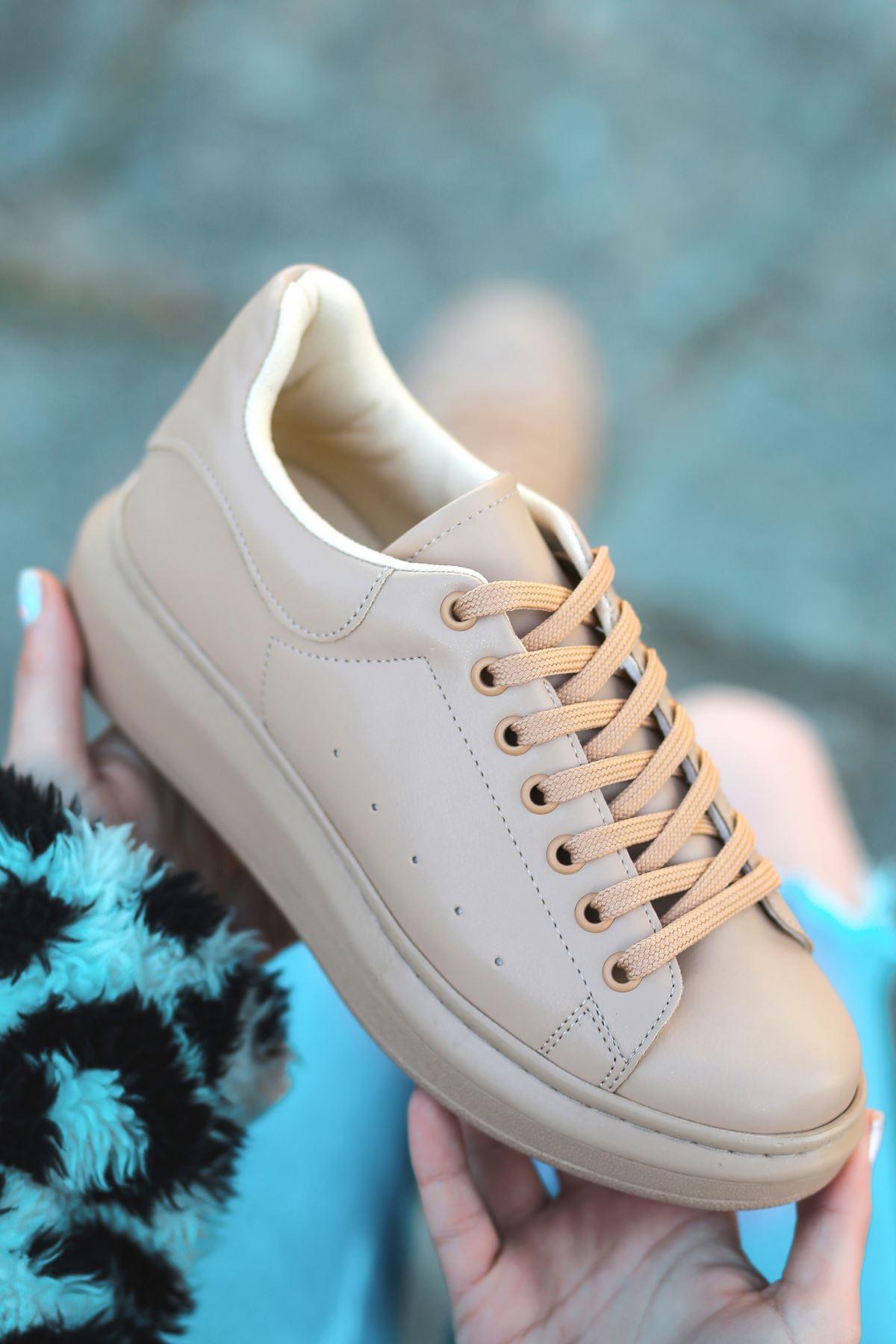 RMS Mat Deri Delik Detaylı Sneakers Günlük Spor Ayakkabı Ten