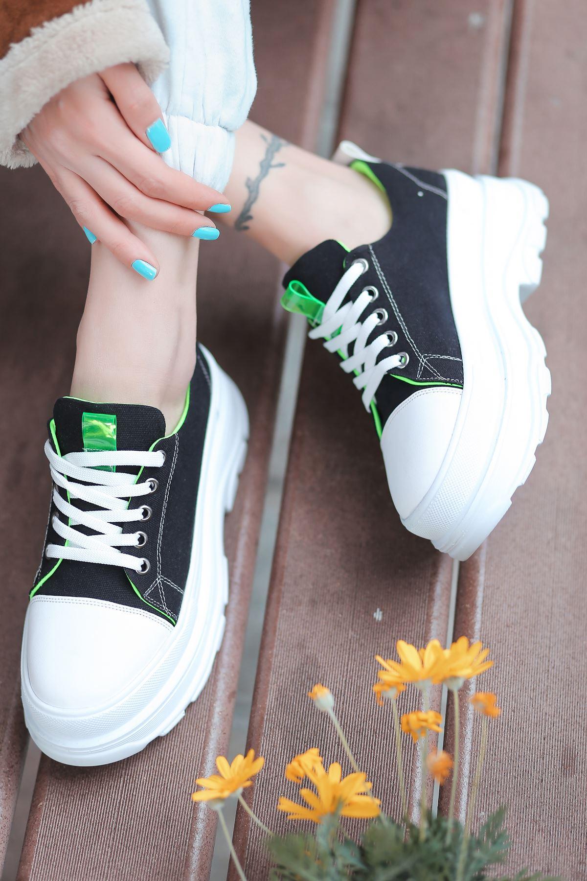 Combo Bağcık Detaylı Siyah Kumaş Kadın Spor Ayakkabı