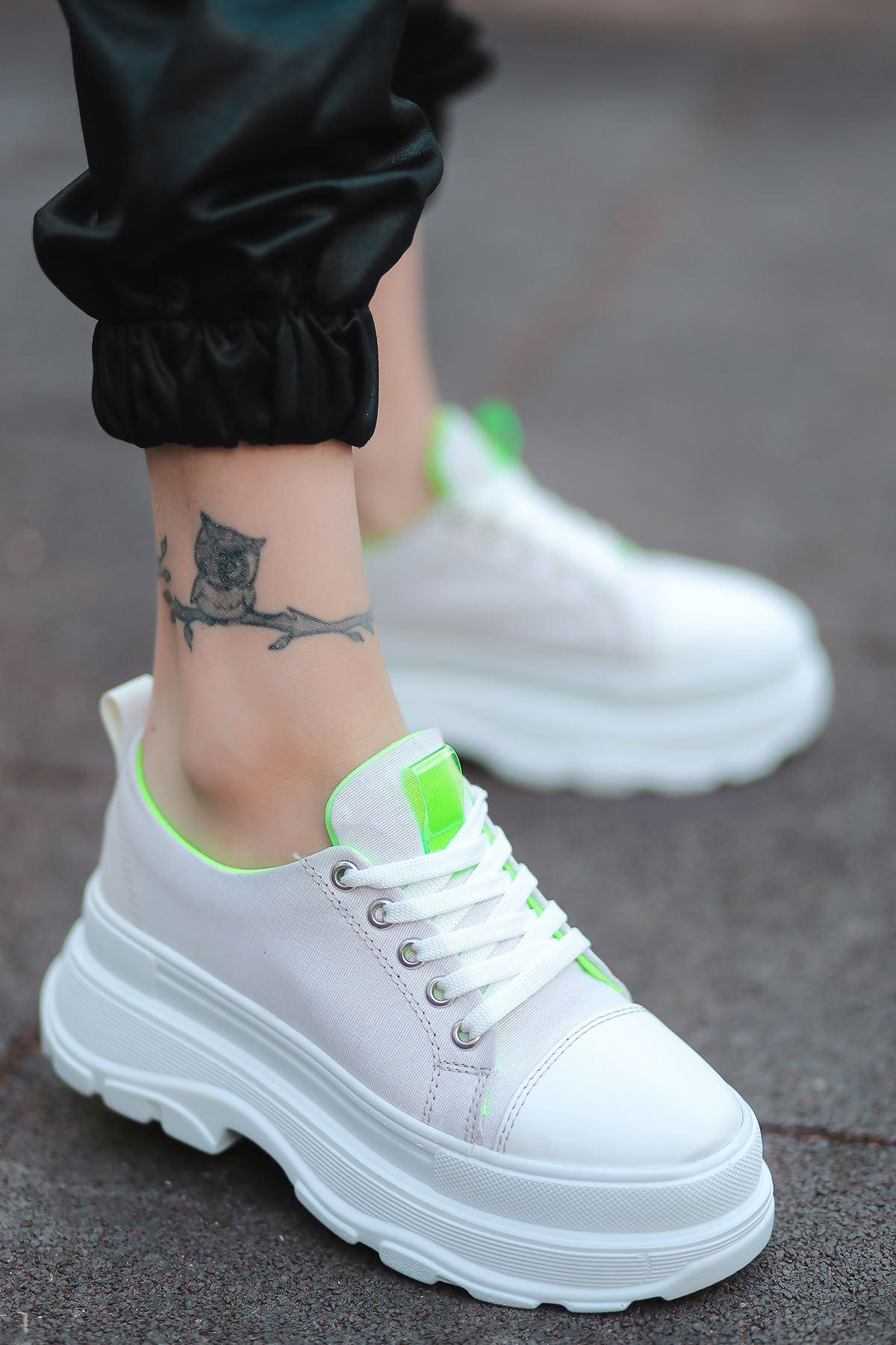 Combo Bağcık Detaylı Beyaz Kumaş Kadın Spor Ayakkabı