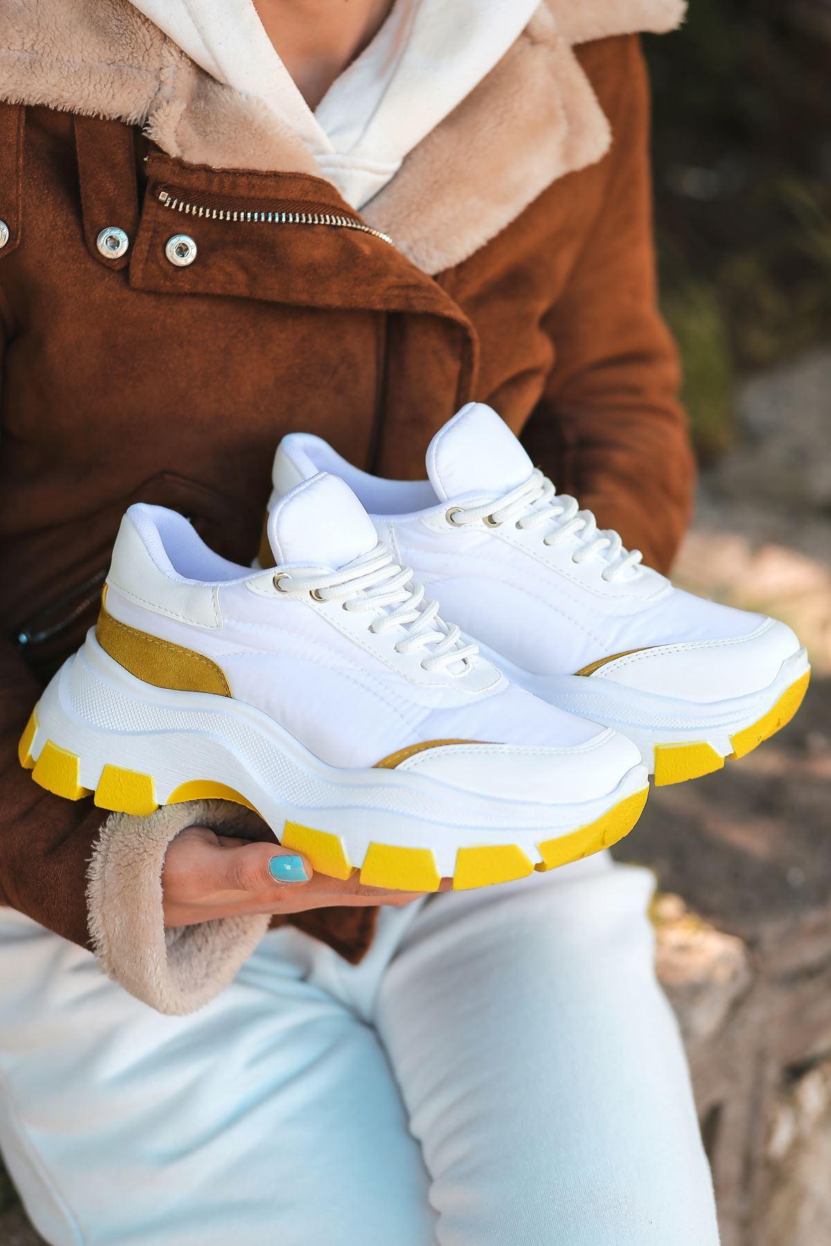 Aberto Bağcık Detaylı Hardal Parçalı Beyaz Paraşüt Kadın Spor Ayakkabı