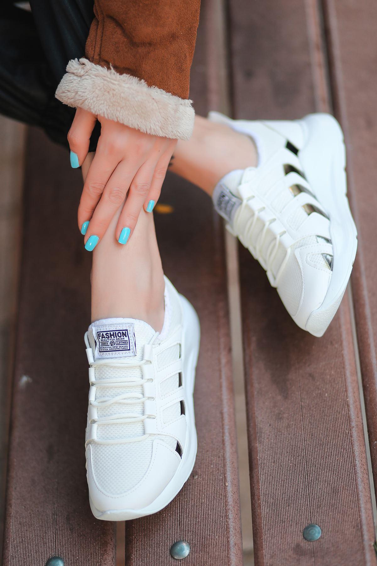 Back Bağcık Detaylı Triko Beyaz Hologram Kadın Spor Ayakkabı