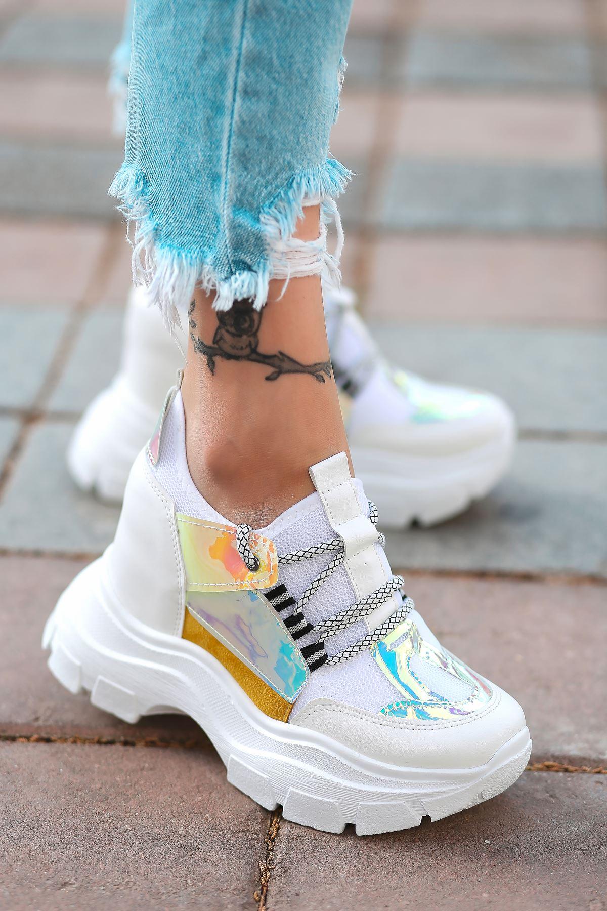 Dream Bağcık Detaylı Fileli Beyaz Hologram Kadın Spor Ayakkabı