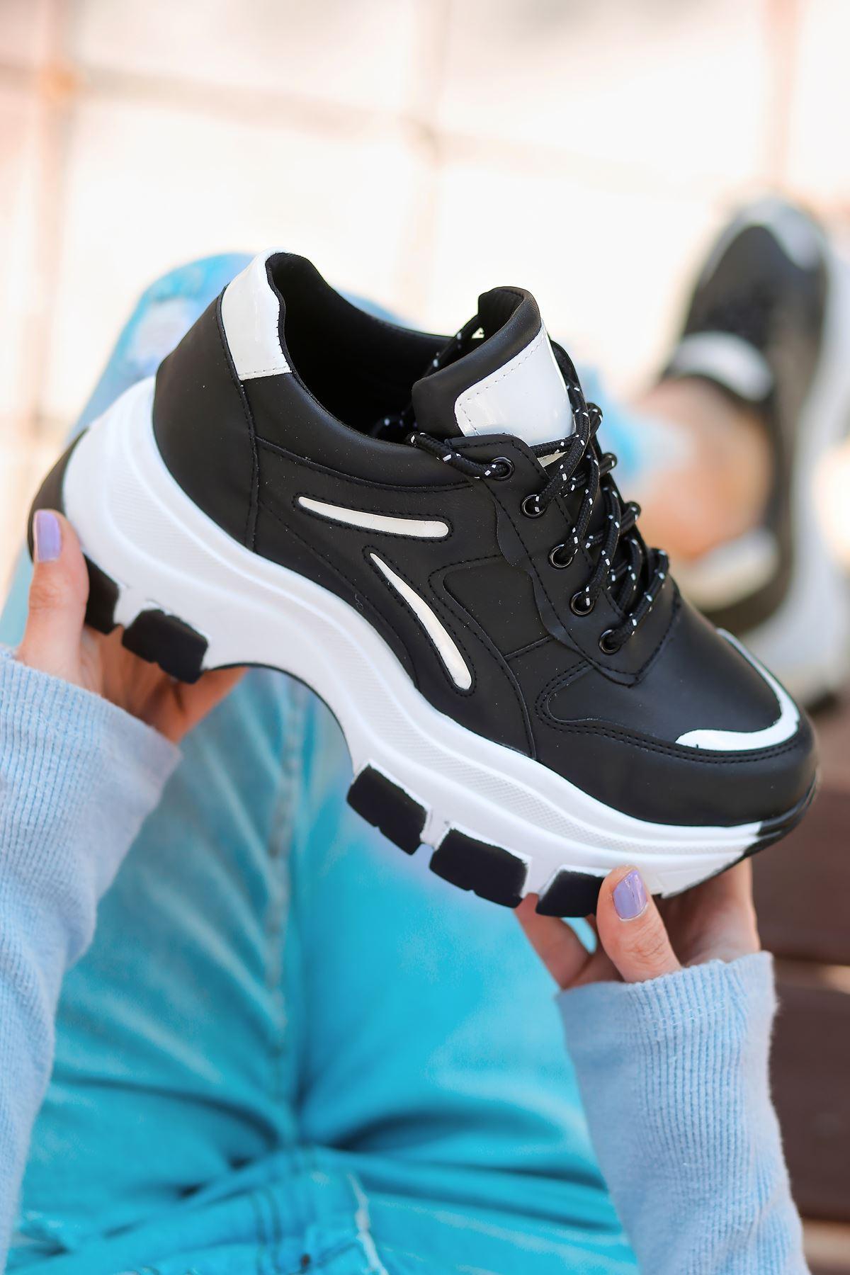 Lavinia-5388 Beyaz Detaylı Bağcıklı Siyah Kadın Spor Ayakkabı