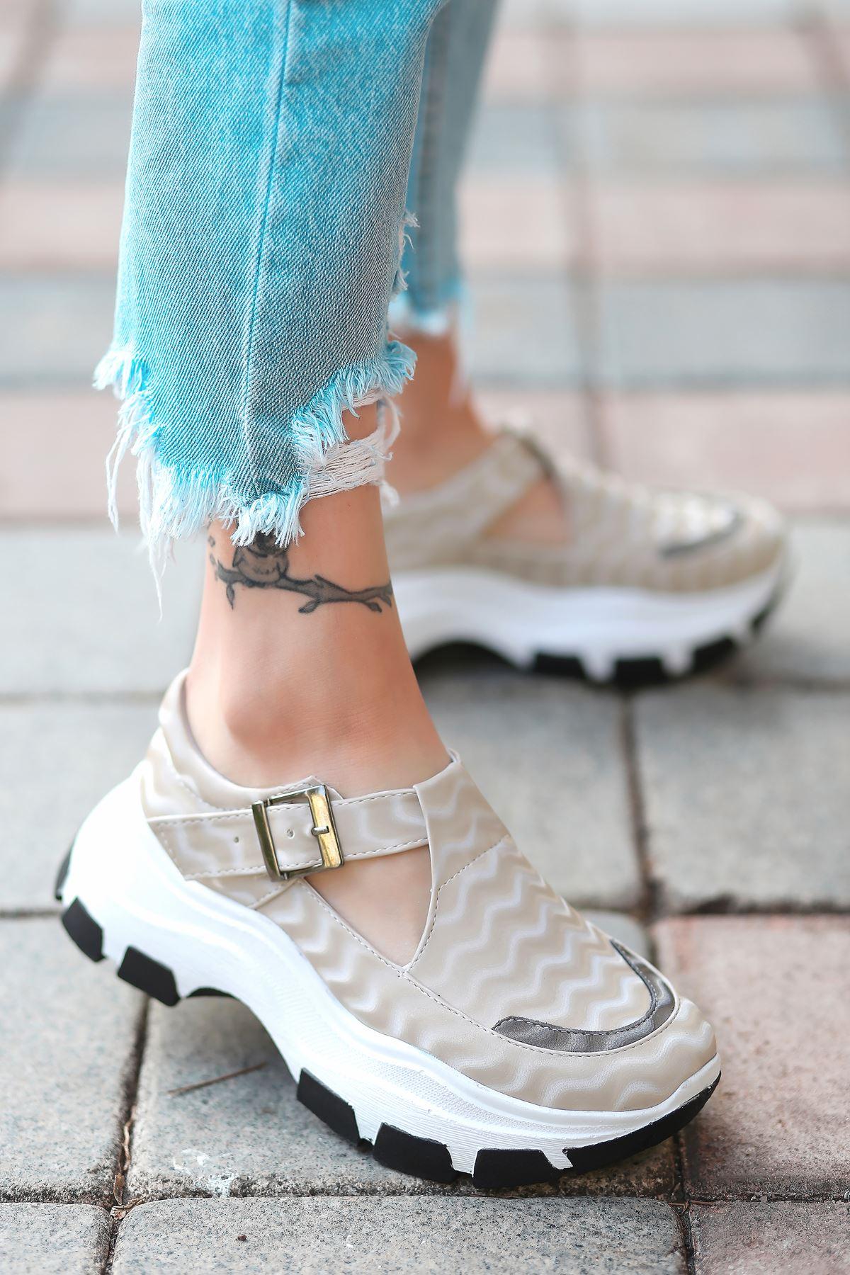 Moscow Dalga Desen Detaylı Vizon Kadın Ayakkabı
