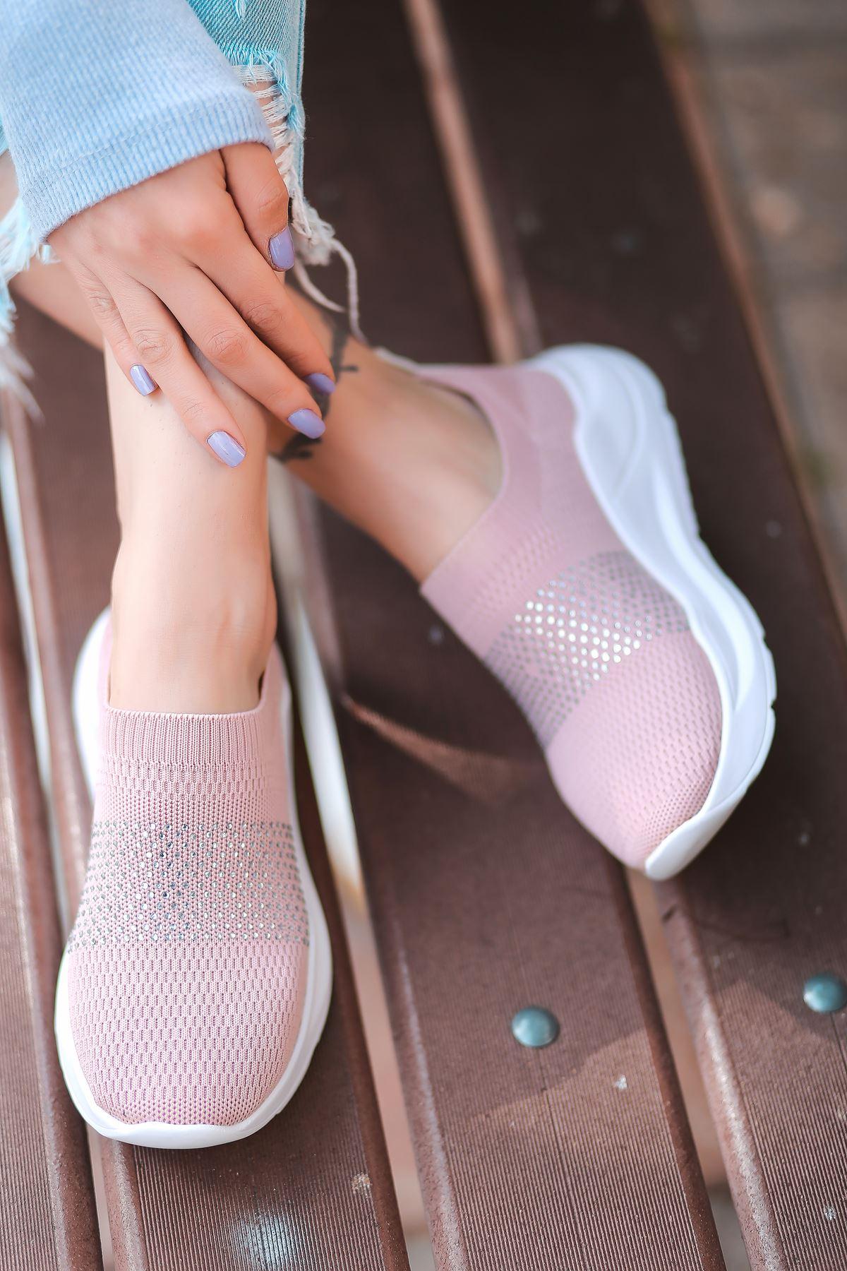 Mile Taş Detaylı Pudra Triko Kadın Spor Ayakkabı