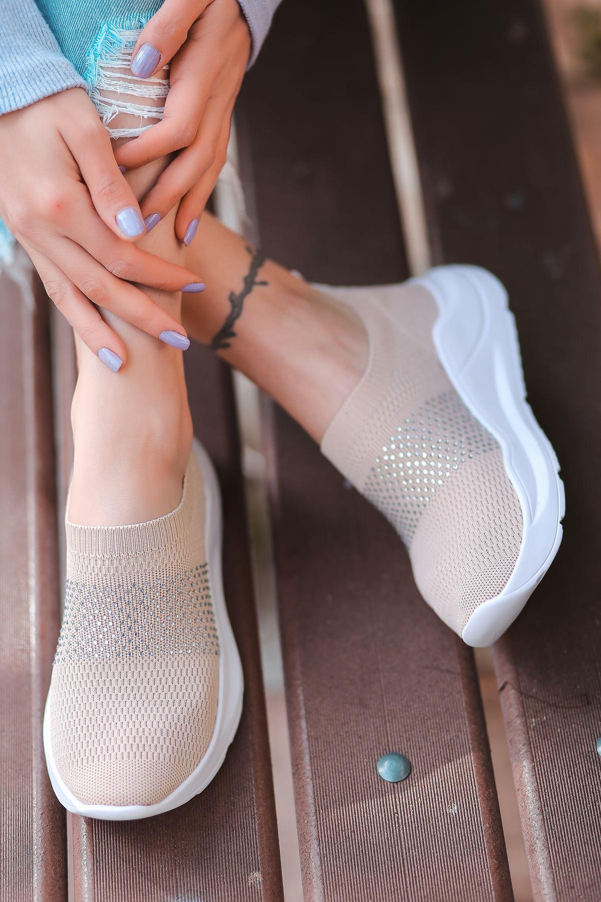Mile Taş Detaylı Vizon Triko Kadın Spor Ayakkabı