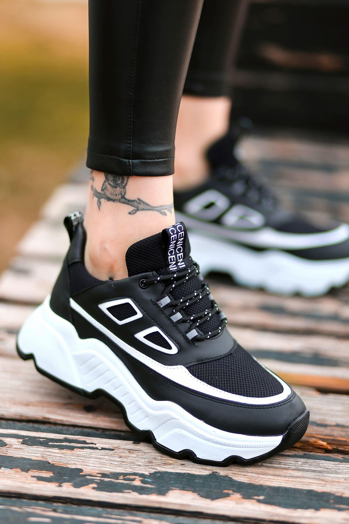 Dicha-2001 Bağcık Detaylı Beyaz Parçalı Siyah Kadın Spor Ayakkabı