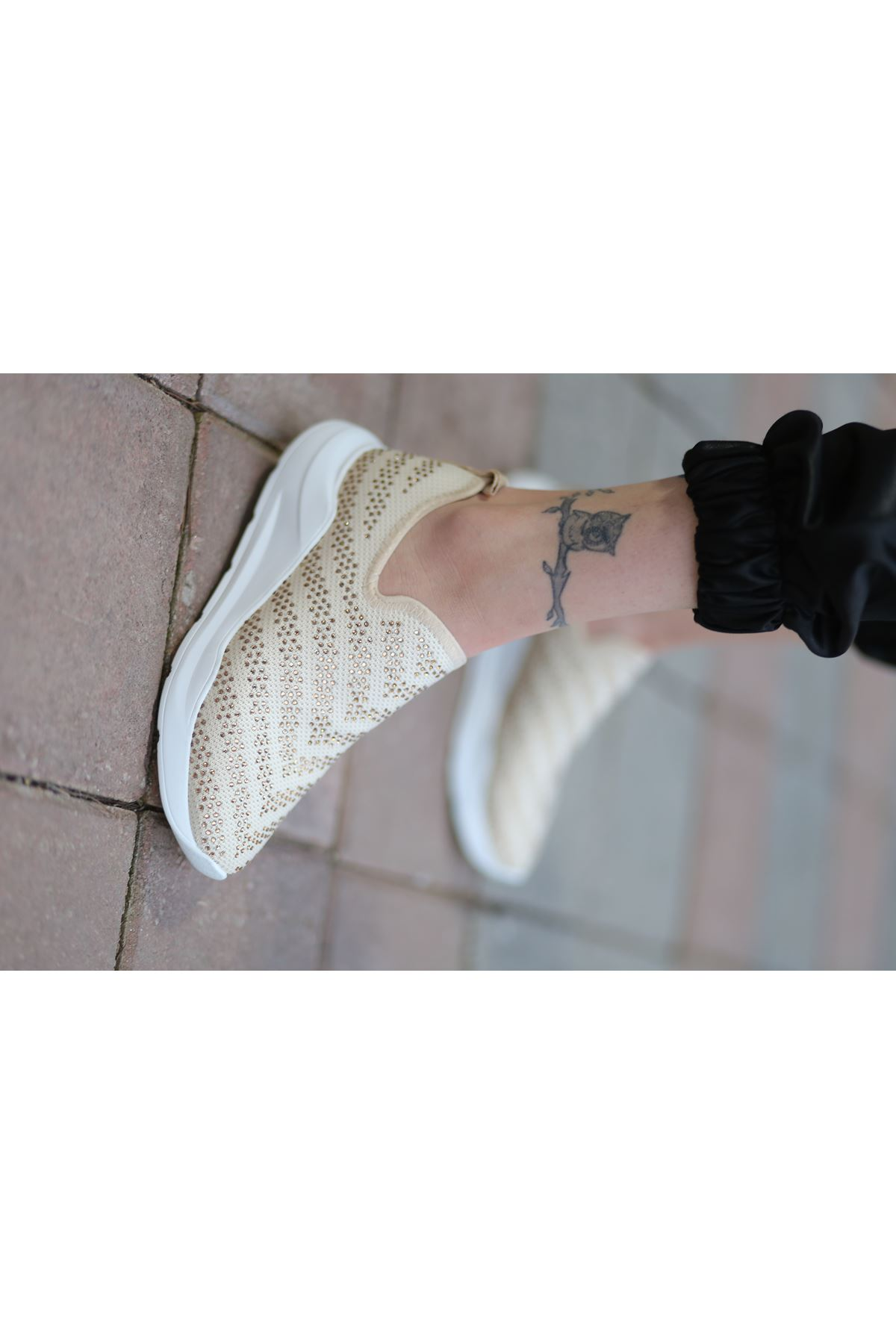 Tiger Taş Detaylı Vizon Triko Kadın Spor Ayakkabı