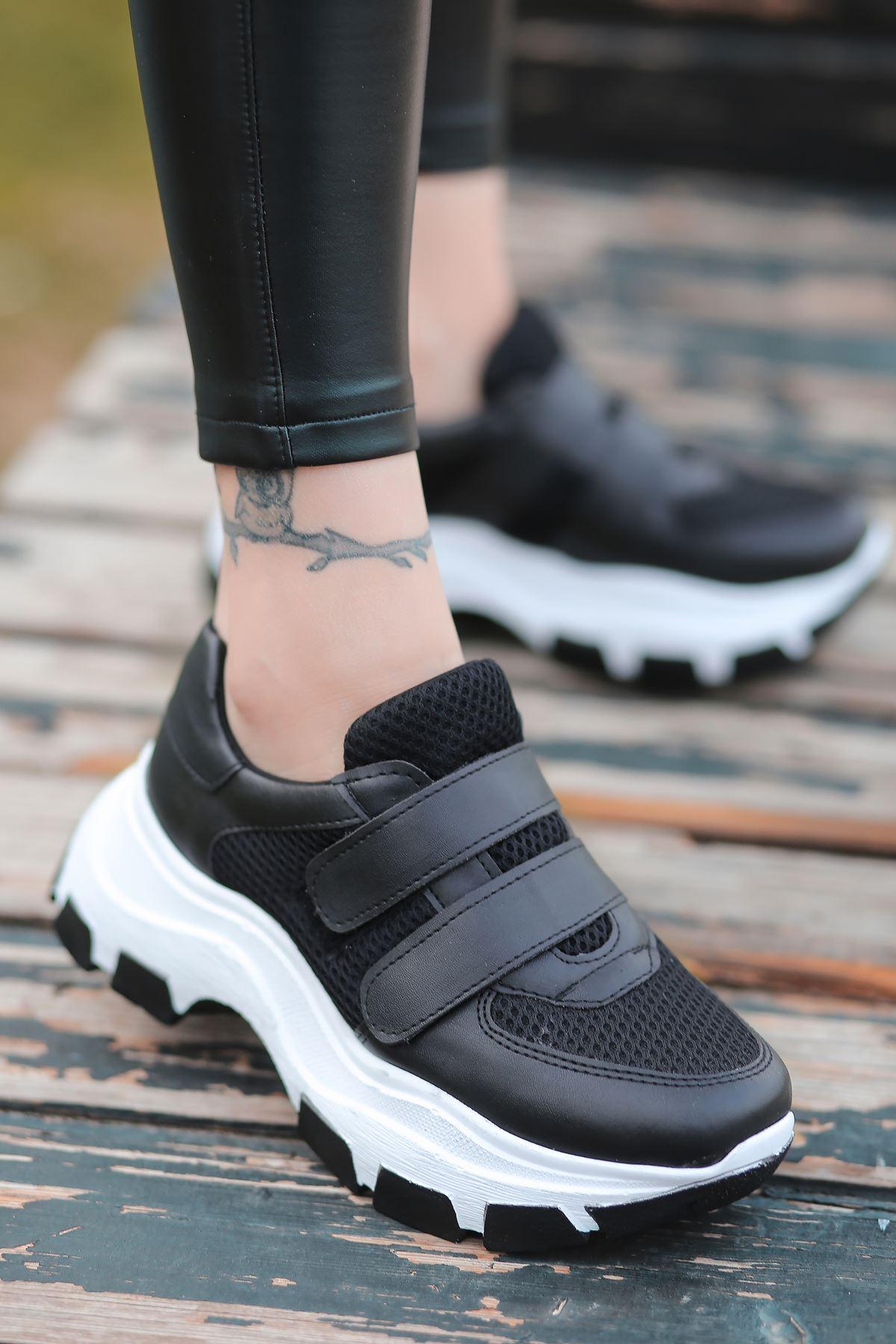 Public Cırt Detaylı Fileli Siyah Kadın Spor Ayakkabı