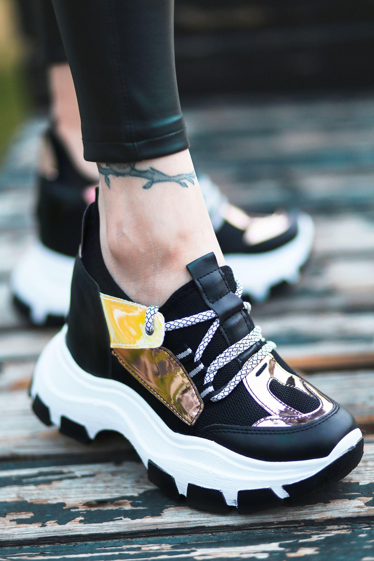 Dream Bağcık Detaylı Fileli Siyah Hologram Kadın Spor Ayakkabı