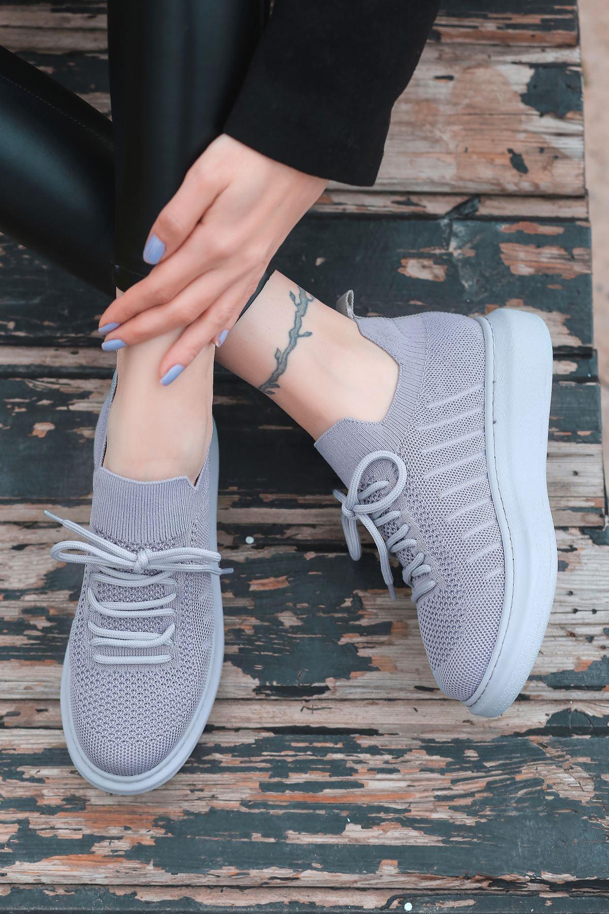 That Bağcık Detay Gri Triko Kadın Spor Ayakkabı