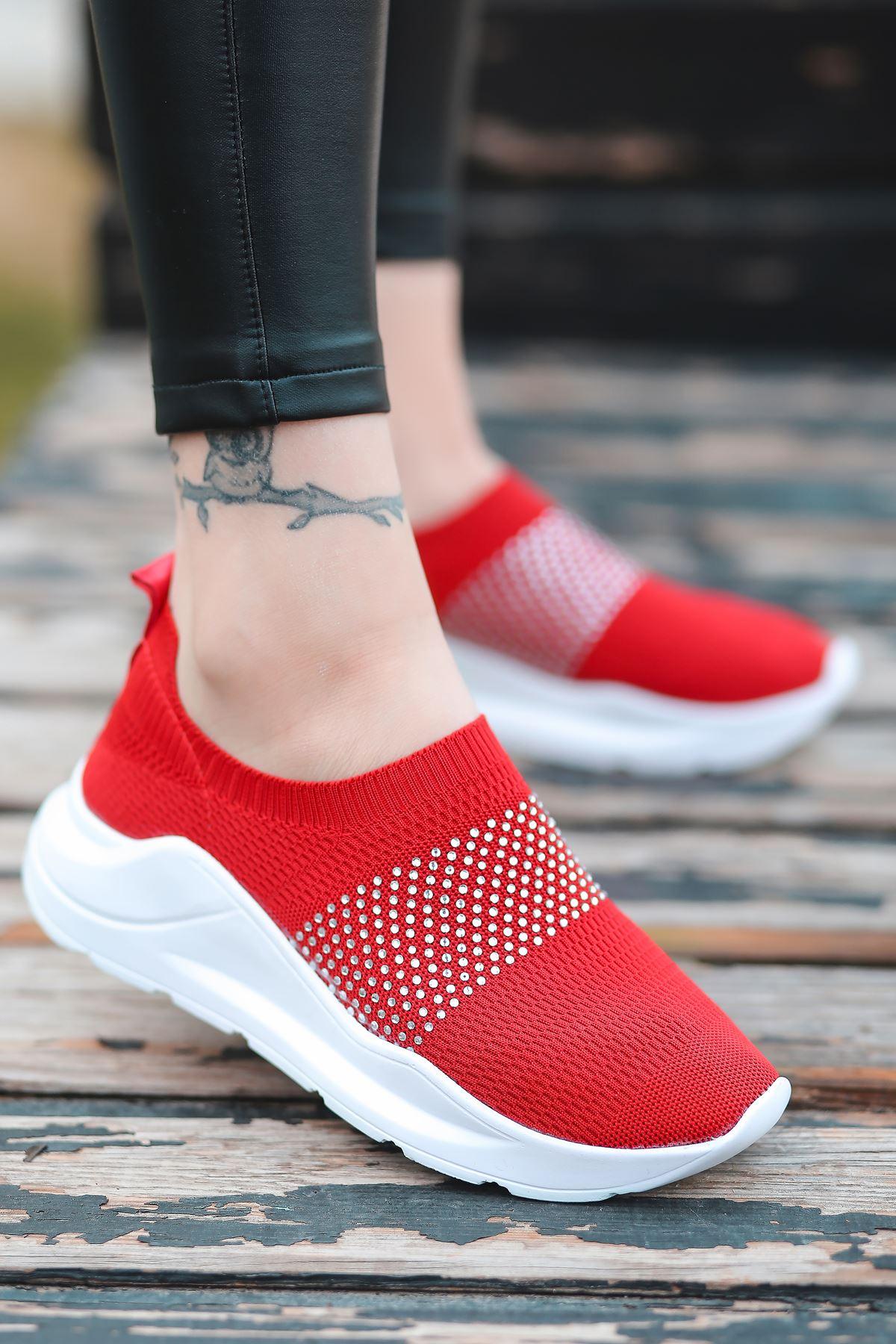 Mile Taş Detaylı Kırmızı Triko Kadın Spor Ayakkabı