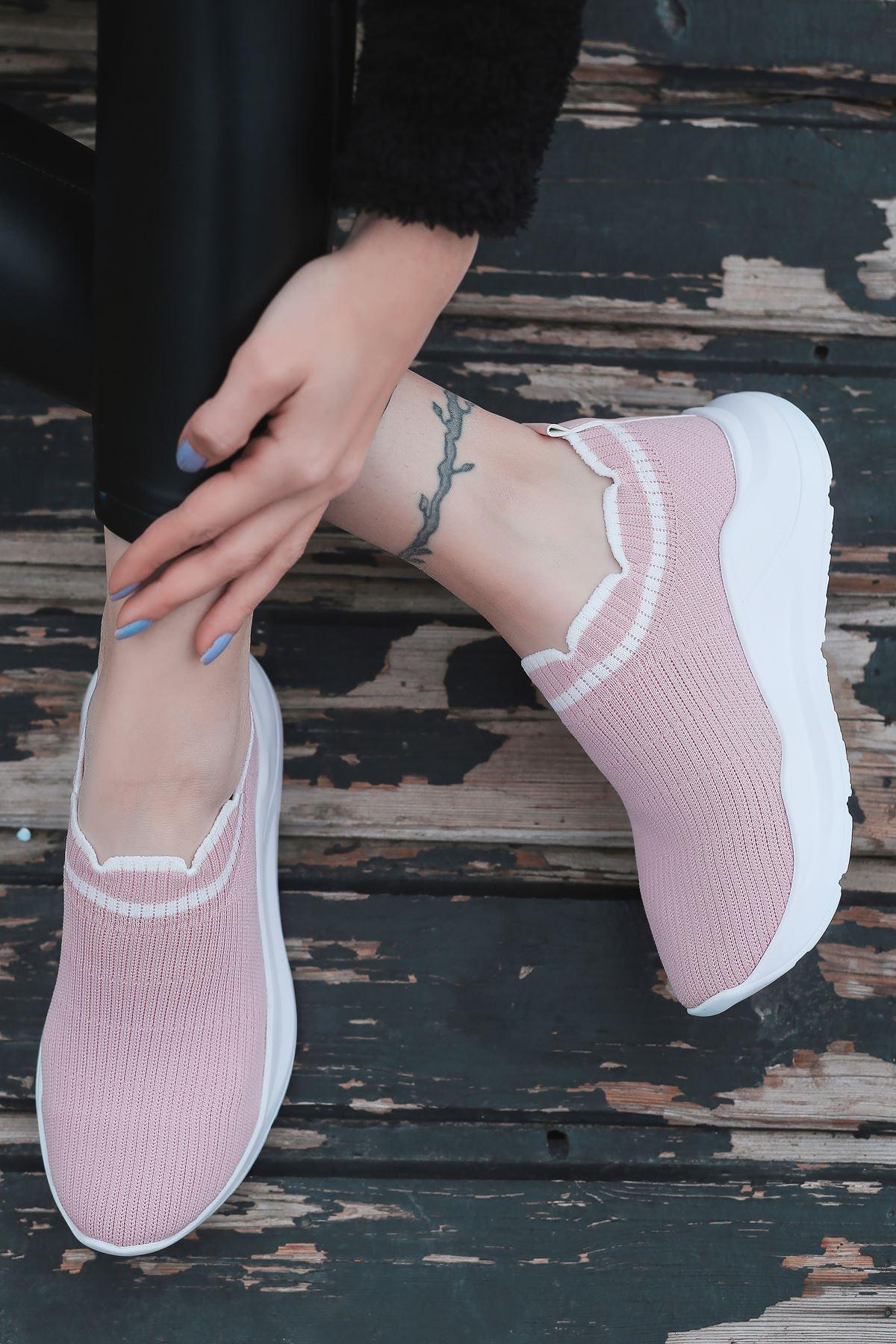 Levin Beyaz Şeritli Pudra Triko Kadın Spor Ayakkabı