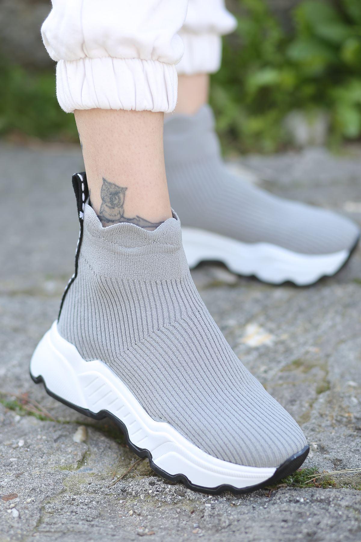 Milorad Gri Uzun Triko Kadın Spor Ayakkabı