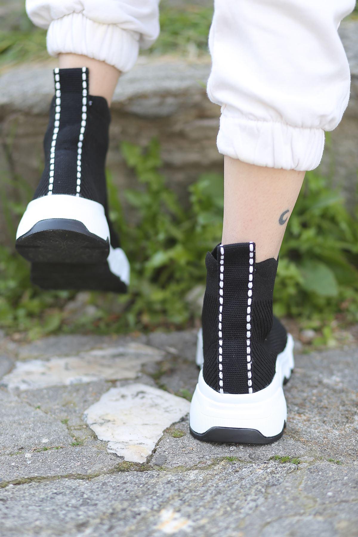 Milorad Siyah Uzun Triko Kadın Spor Ayakkabı