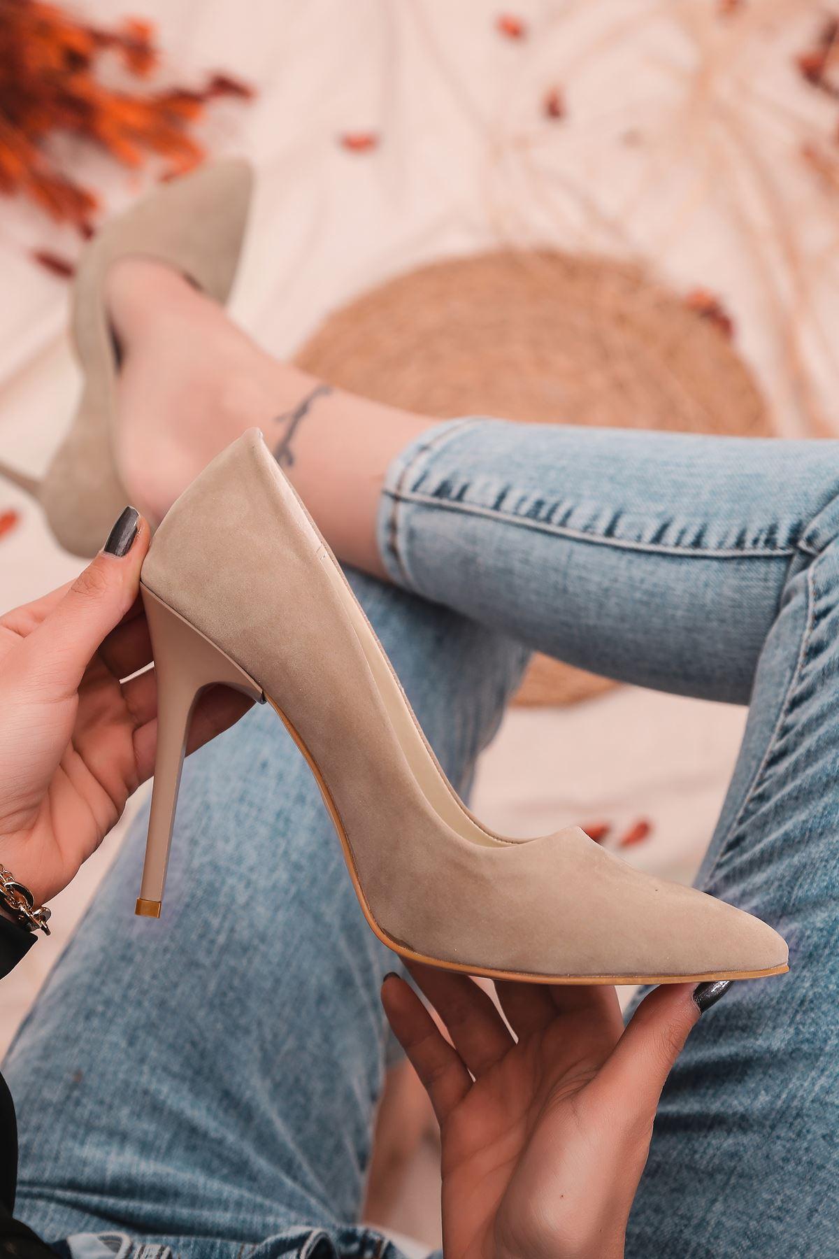 Ruha Yüksek Topuklu Vizon Süet Kadın Stiletto