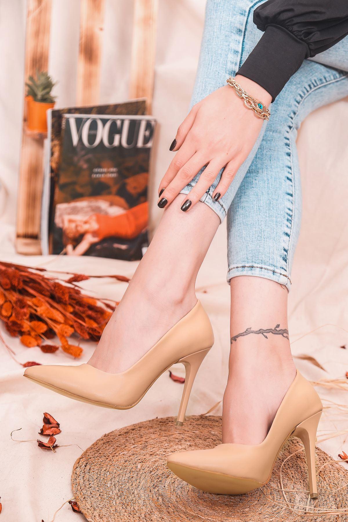 Ruha Yüksek Topuklu Nude Mat Deri Kadın Stiletto
