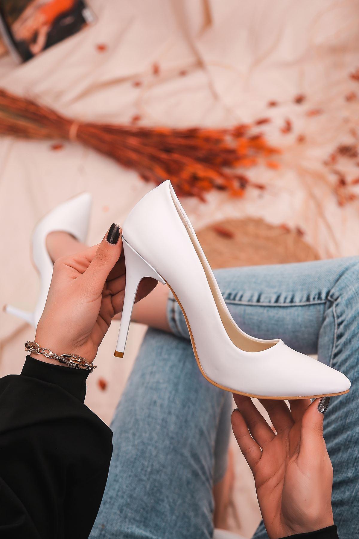 Ruha Yüksek Topuklu Beyaz Mat Deri Kadın Stiletto