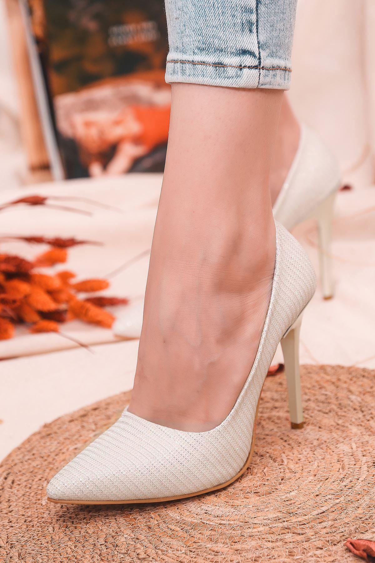 Ruha Yüksek Topuklu Beyaz Kadın Stiletto