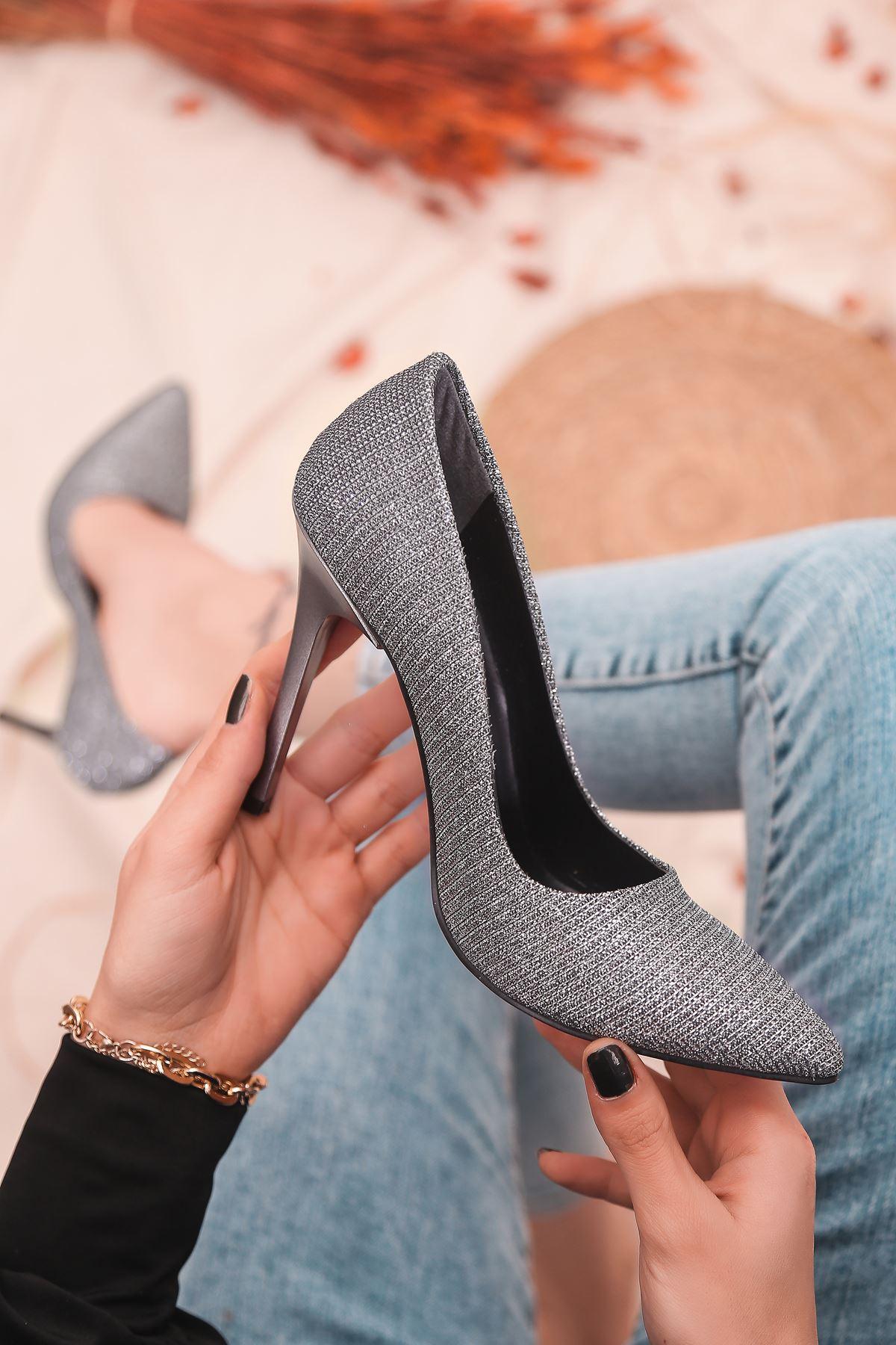 Ruha Yüksek Topuklu Platin Kadın Stiletto