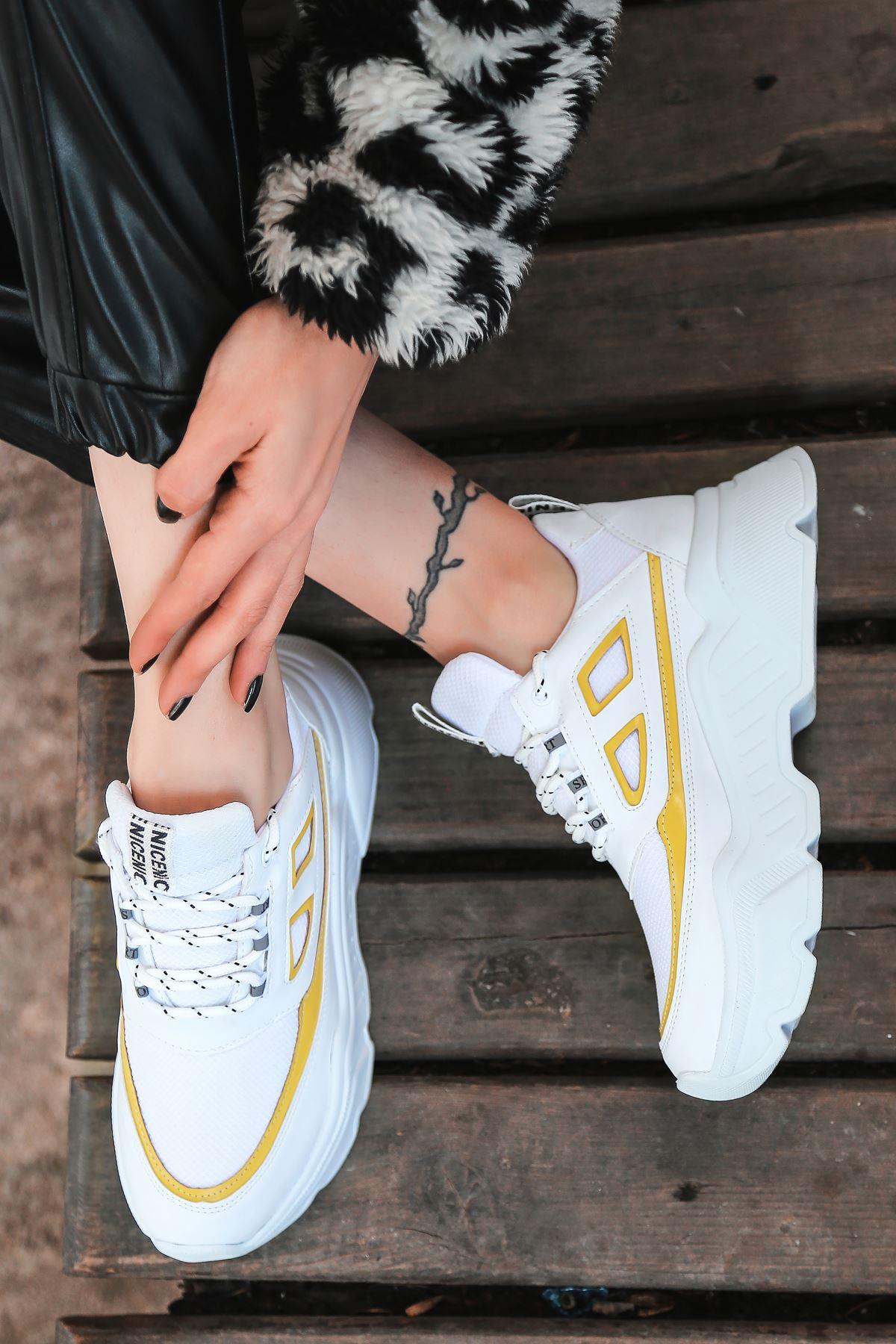 Dicha-2001 Bağcık Detaylı Sarı Parçalı Beyaz Kadın Spor Ayakkabı