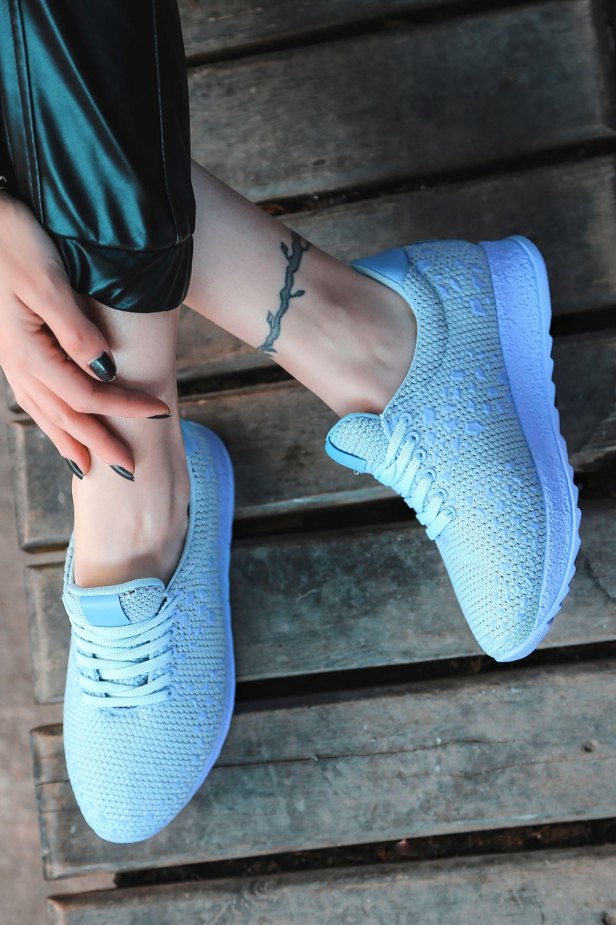 Star Çelik Örgü Triko Kadın Spor Ayakkabı Mavi