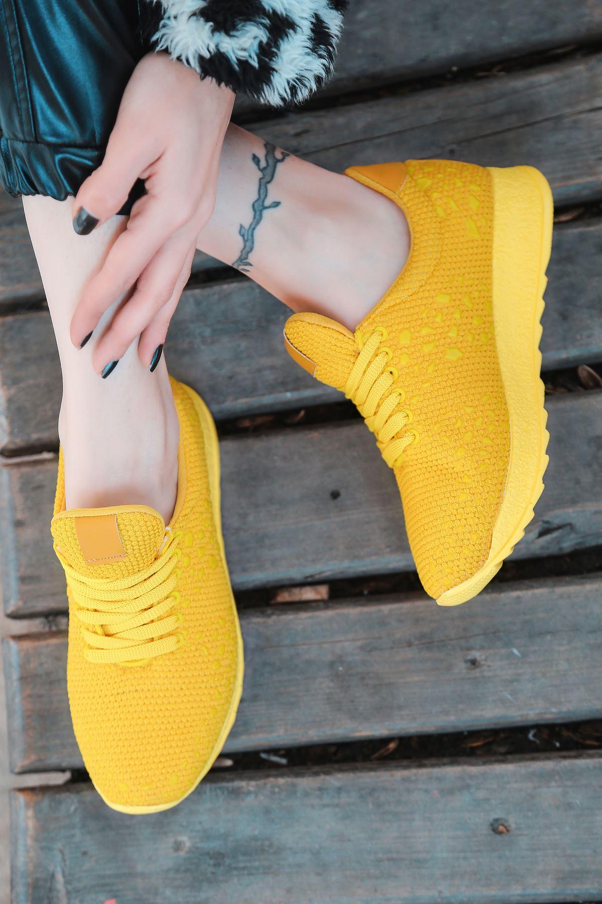 Star Çelik Örgü Triko Kadın Spor Ayakkabı Sarı