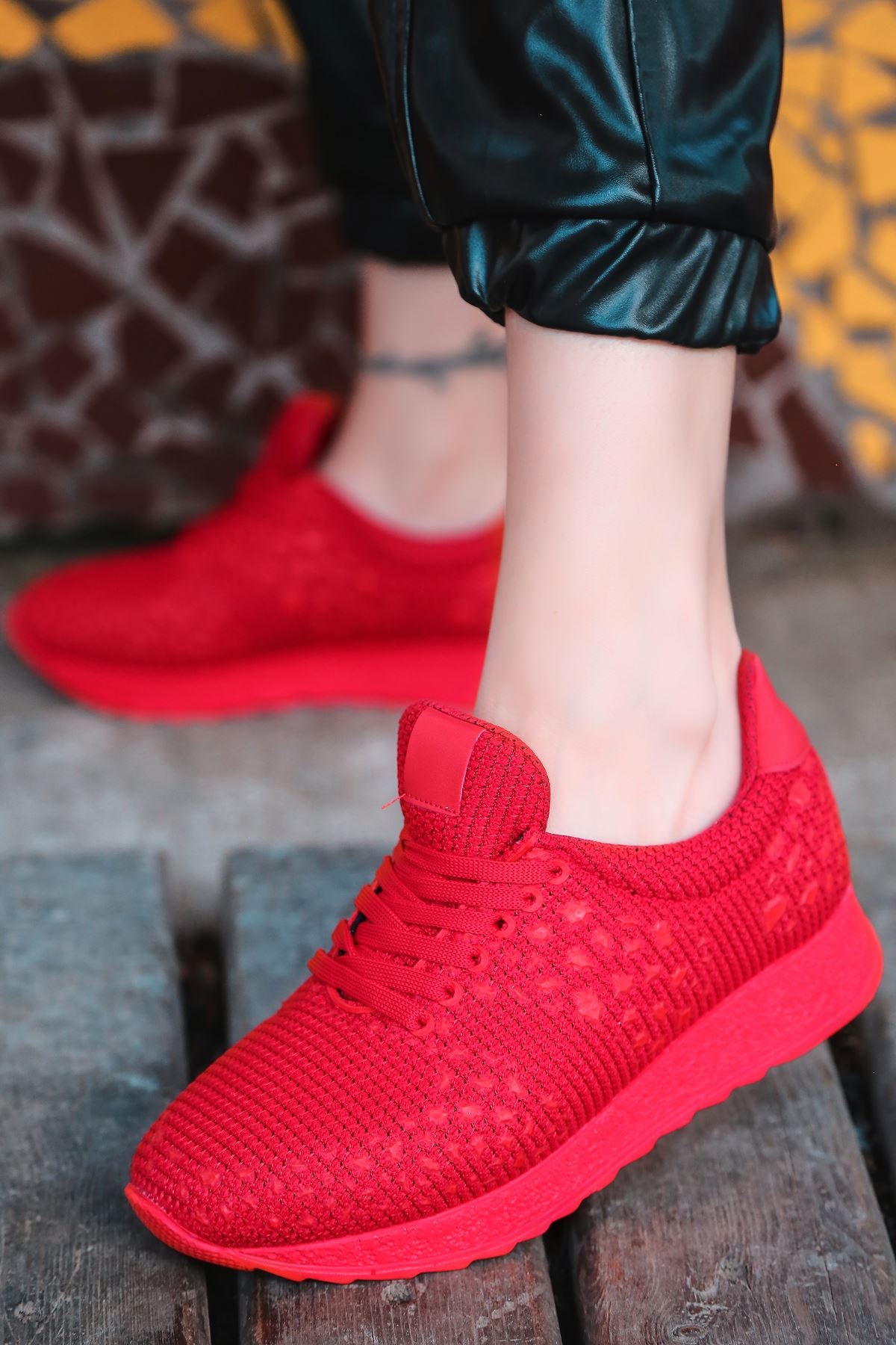 Star Çelik Örgü Triko Kadın Spor Ayakkabı Kırmızı