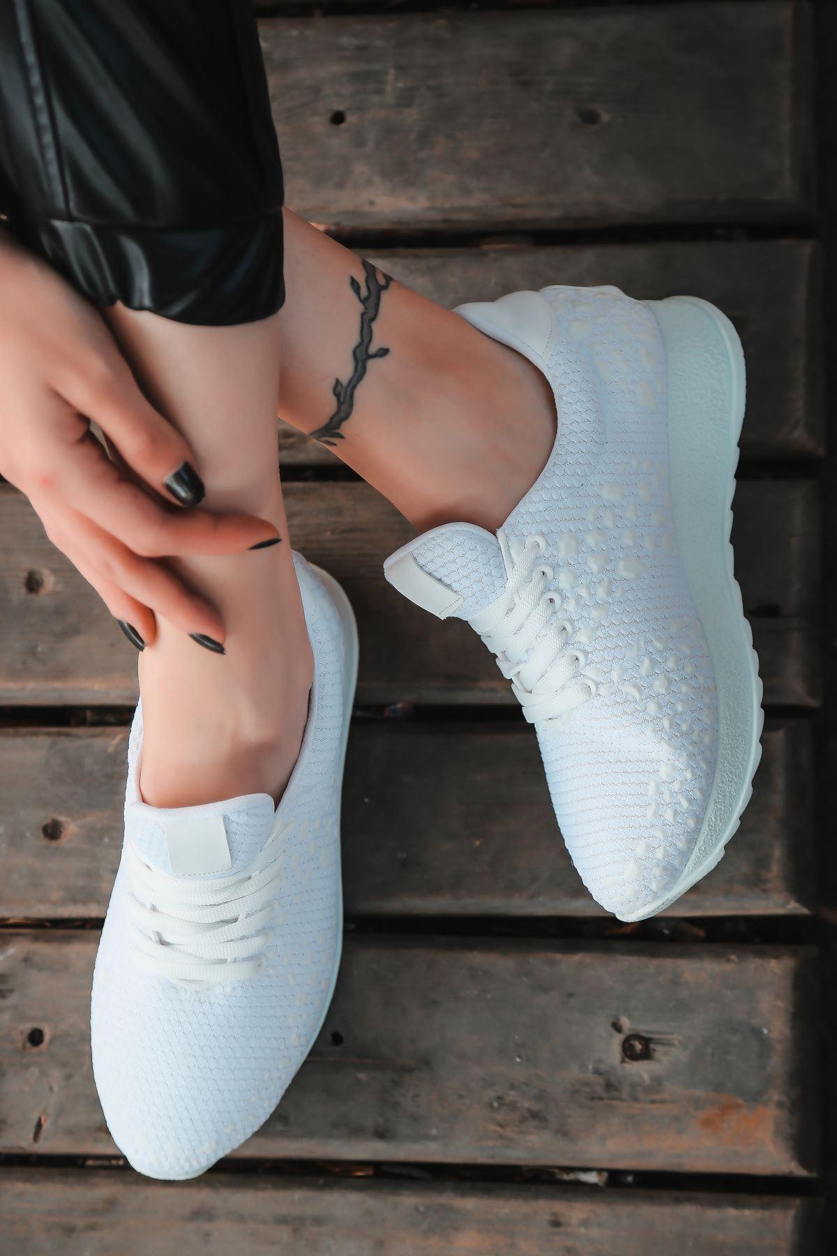 Star Çelik Örgü Triko Kadın Spor Ayakkabı Beyaz