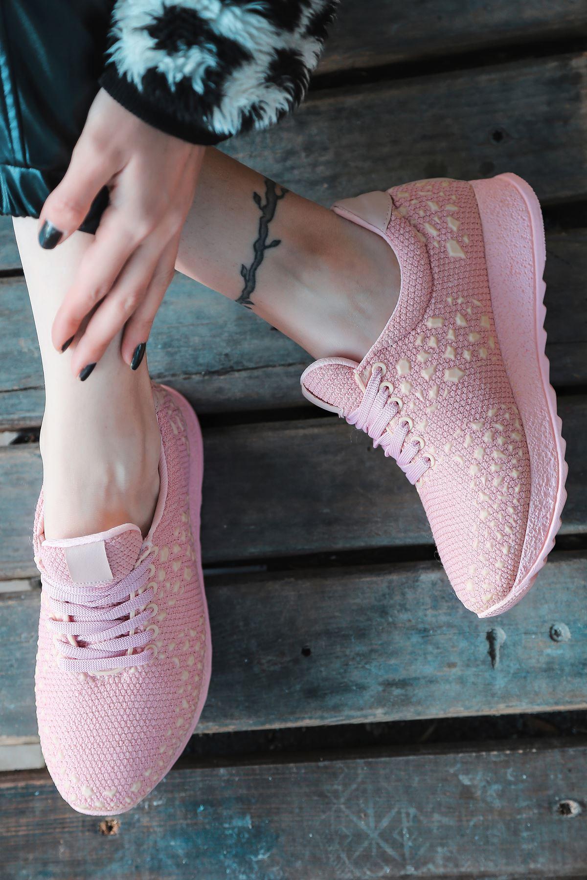 Star Çelik Örgü Triko Kadın Spor Ayakkabı Pudra
