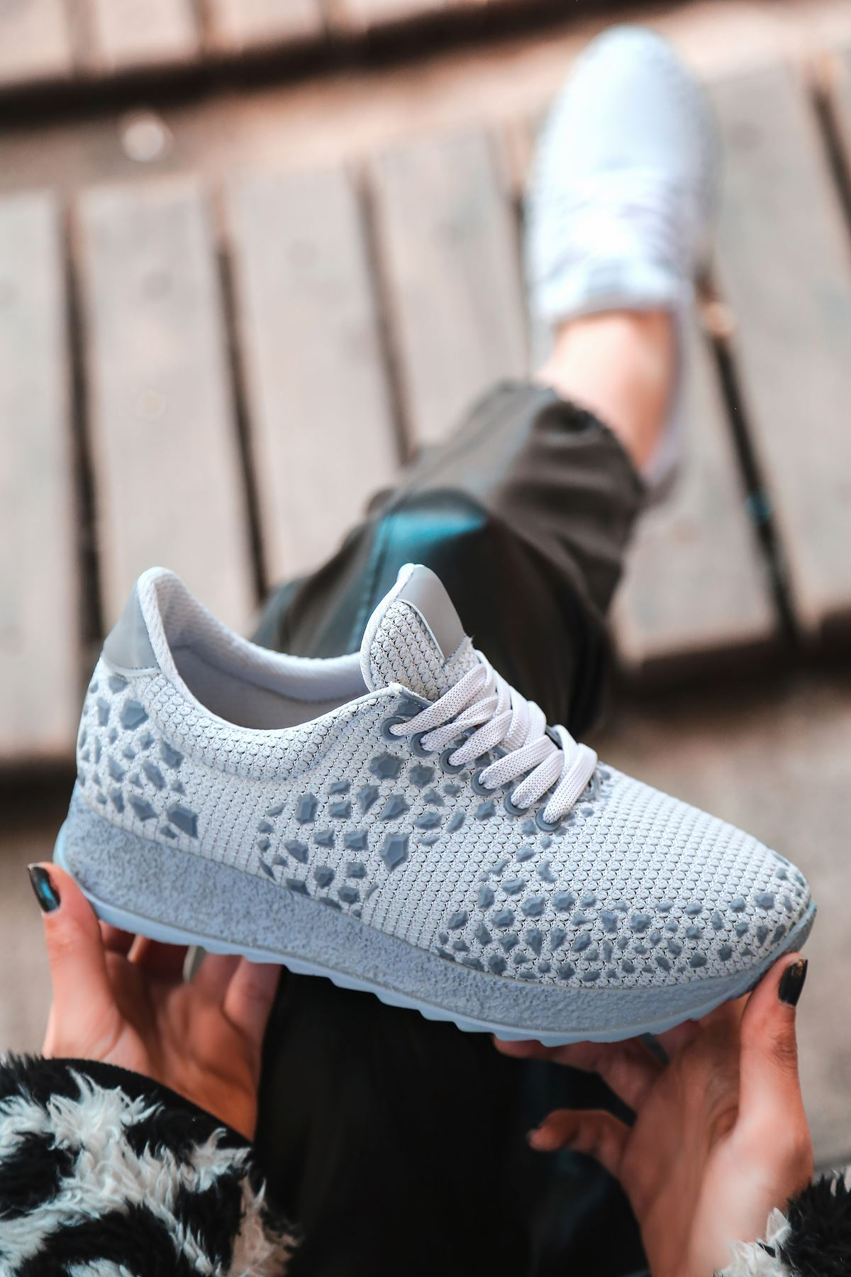 Star Çelik Örgü Triko Kadın Spor Ayakkabı Gri