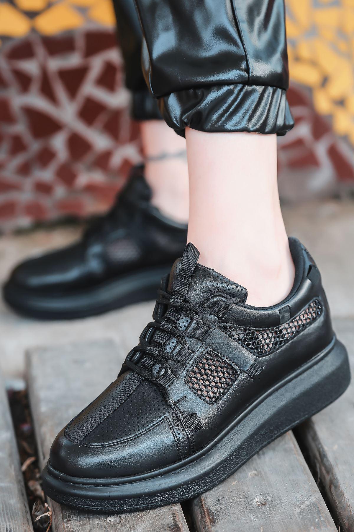 Dannes File Detaylı Bağcıklı Siyah Kadın Spor Ayakkabı
