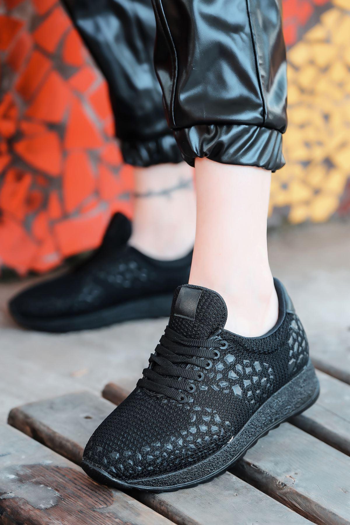 Star Çelik Örgü Triko Kadın Spor Ayakkabı Siyah