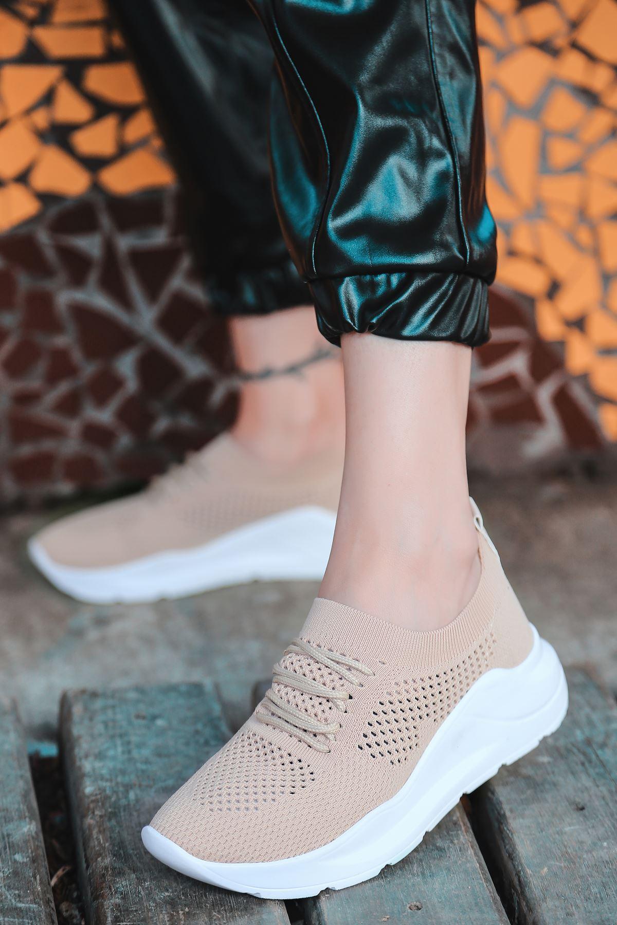 Bertha Bağcık Detaylı Vizon Triko Kadın Spor Ayakkabı