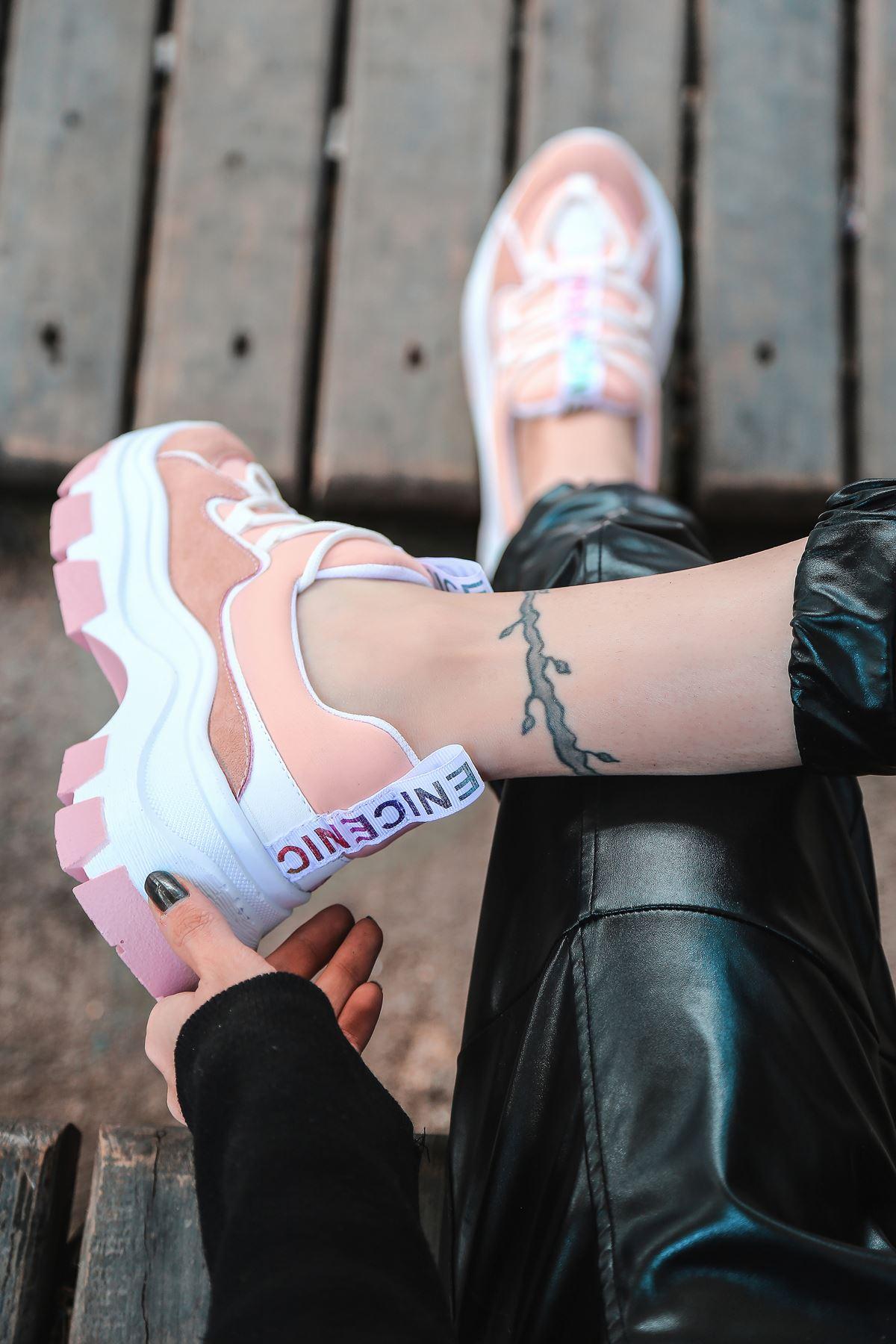 Nice Dalgıç Kumaş Detaylı Bağcıklı Pembe Kadın Spor Ayakkabı