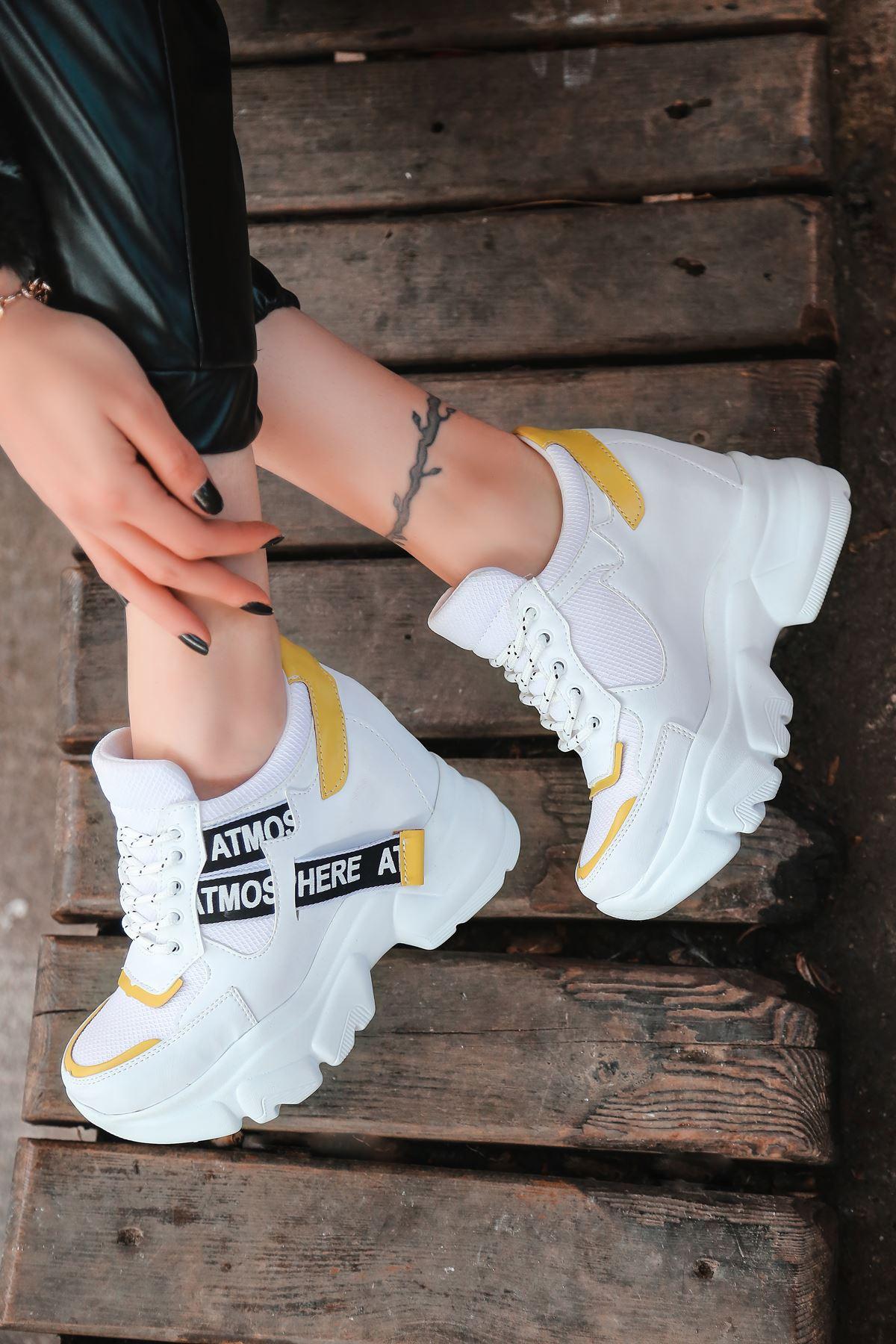 Pher Bağcık Detaylı Yüksek Taban Sarı Parçalı Beyaz Kadın Spor Ayakkabı BT