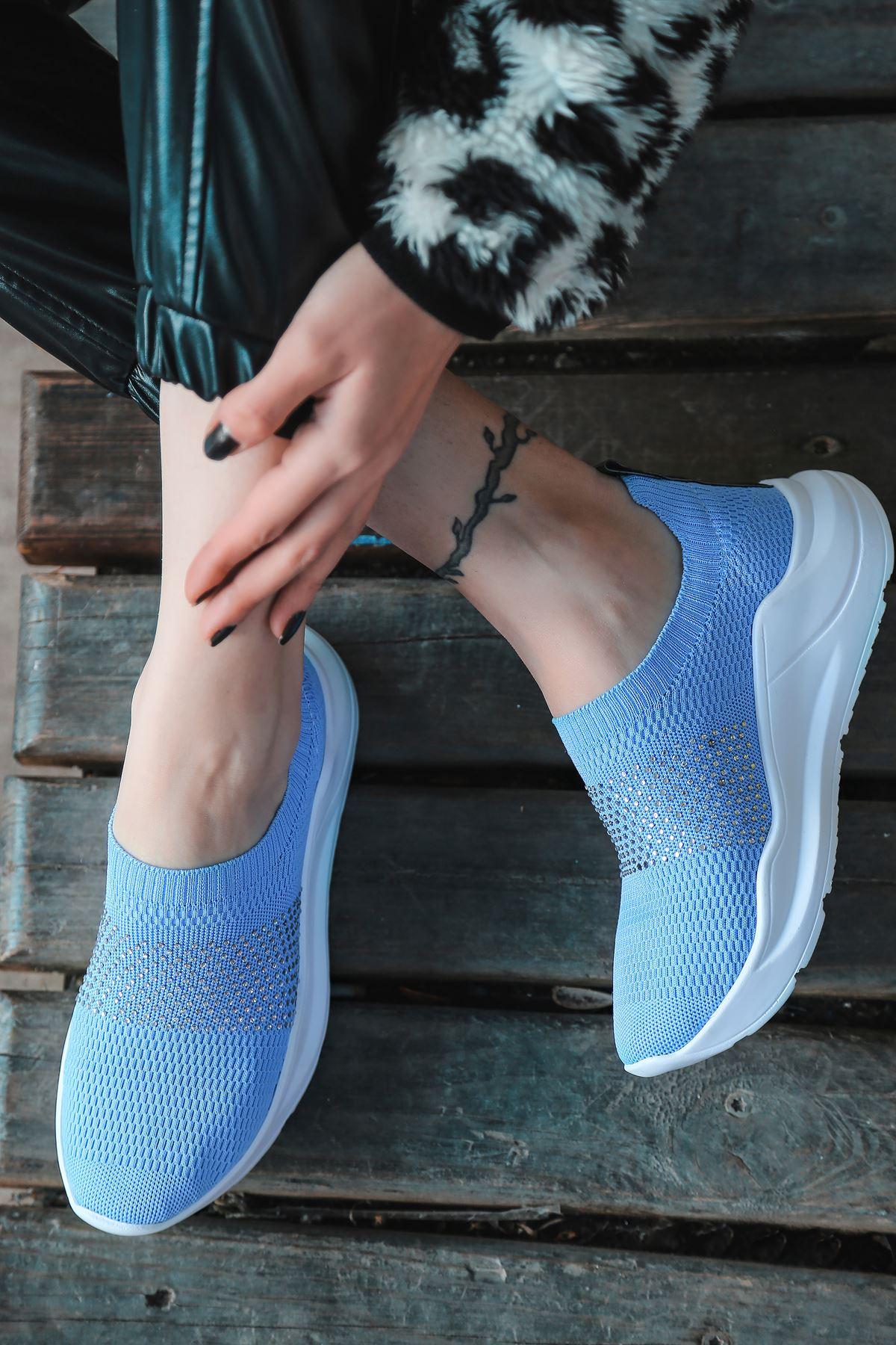 Mile Taş Detaylı Bebek Mavi Triko Kadın Spor Ayakkabı