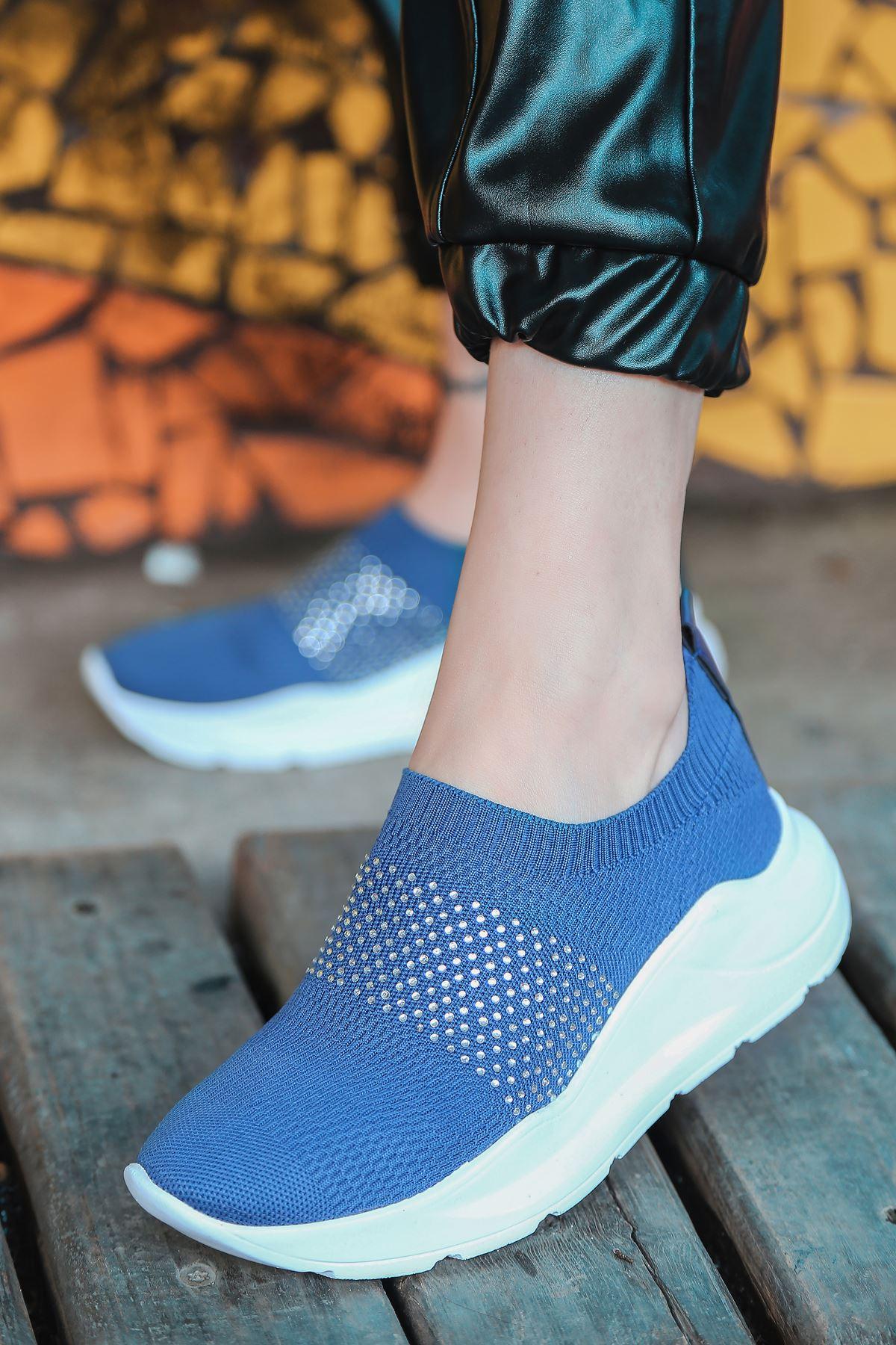 Mile Taş Detaylı Lacivert Triko Kadın Spor Ayakkabı