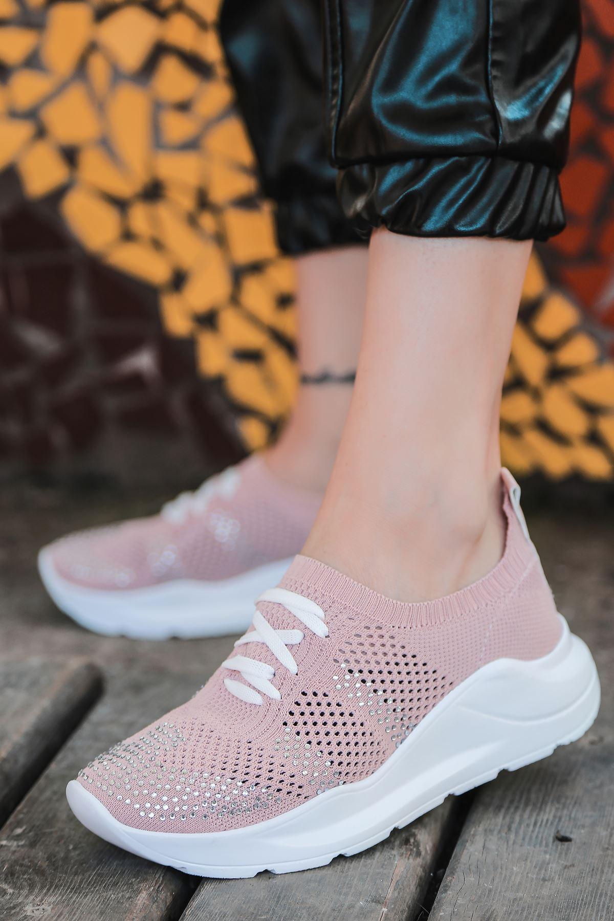 Anzel Bağcık Detaylı Pudra Triko Taşlı Kadın Spor Ayakkabı